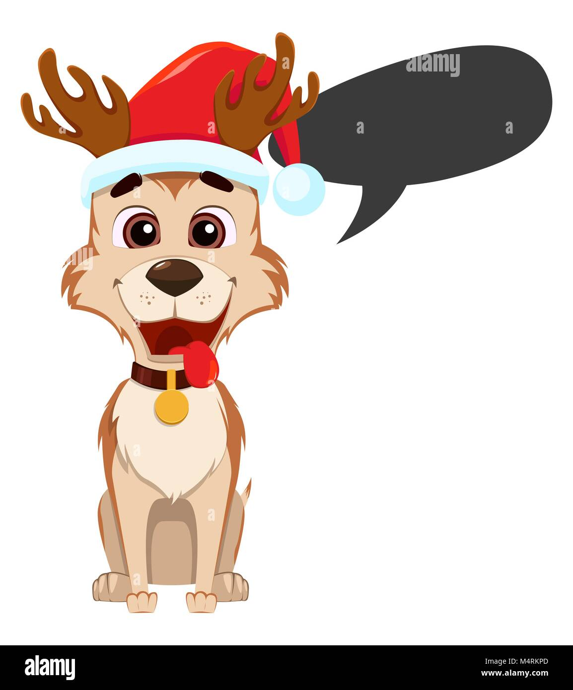 Lustig Frohe Weihnachten.Frohe Weihnachten Grusskarte Lustig Hund Tragen Santa Claus