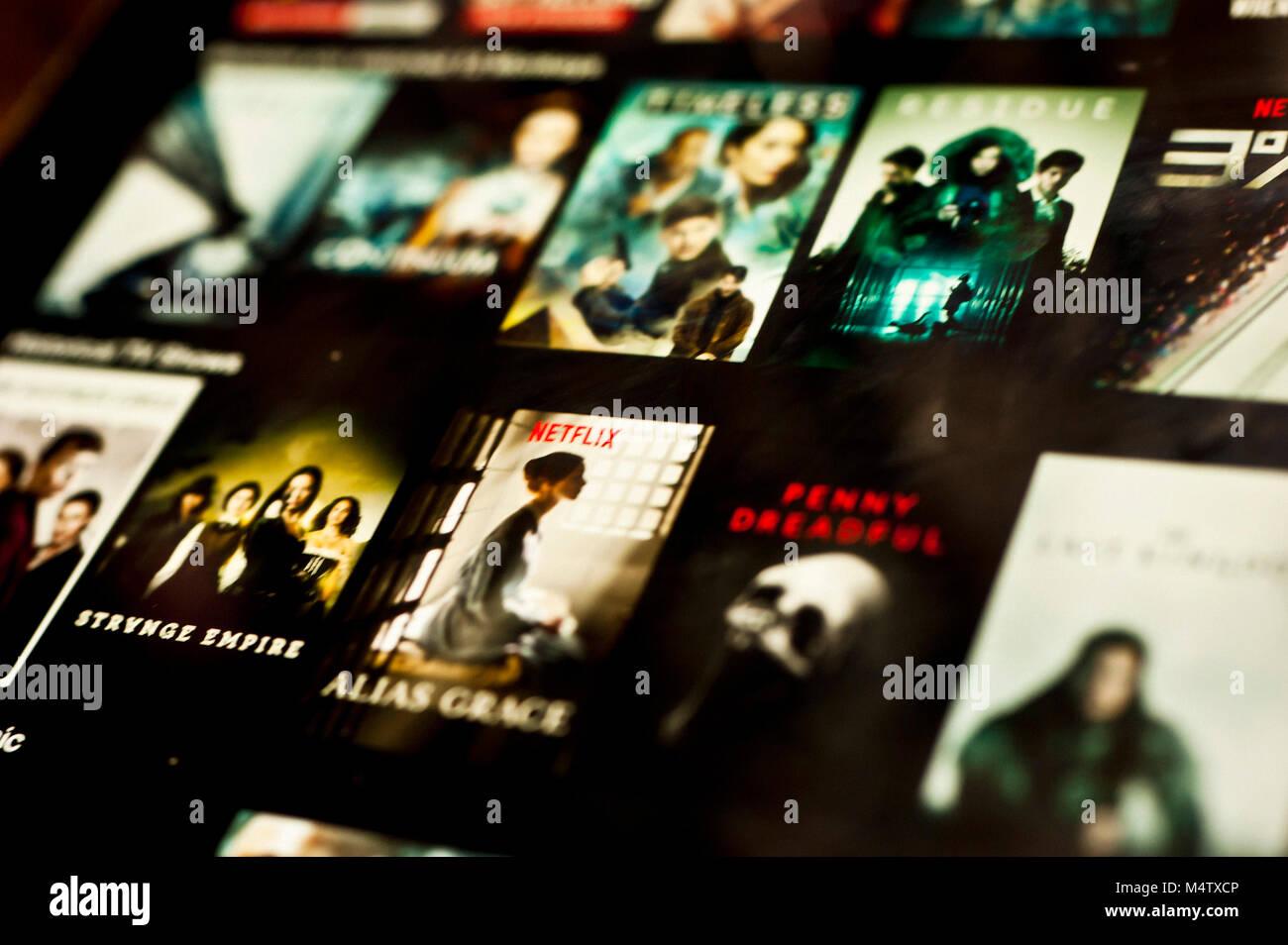 Netflix Bildschirm auf einem Tablet-PC Stockbild