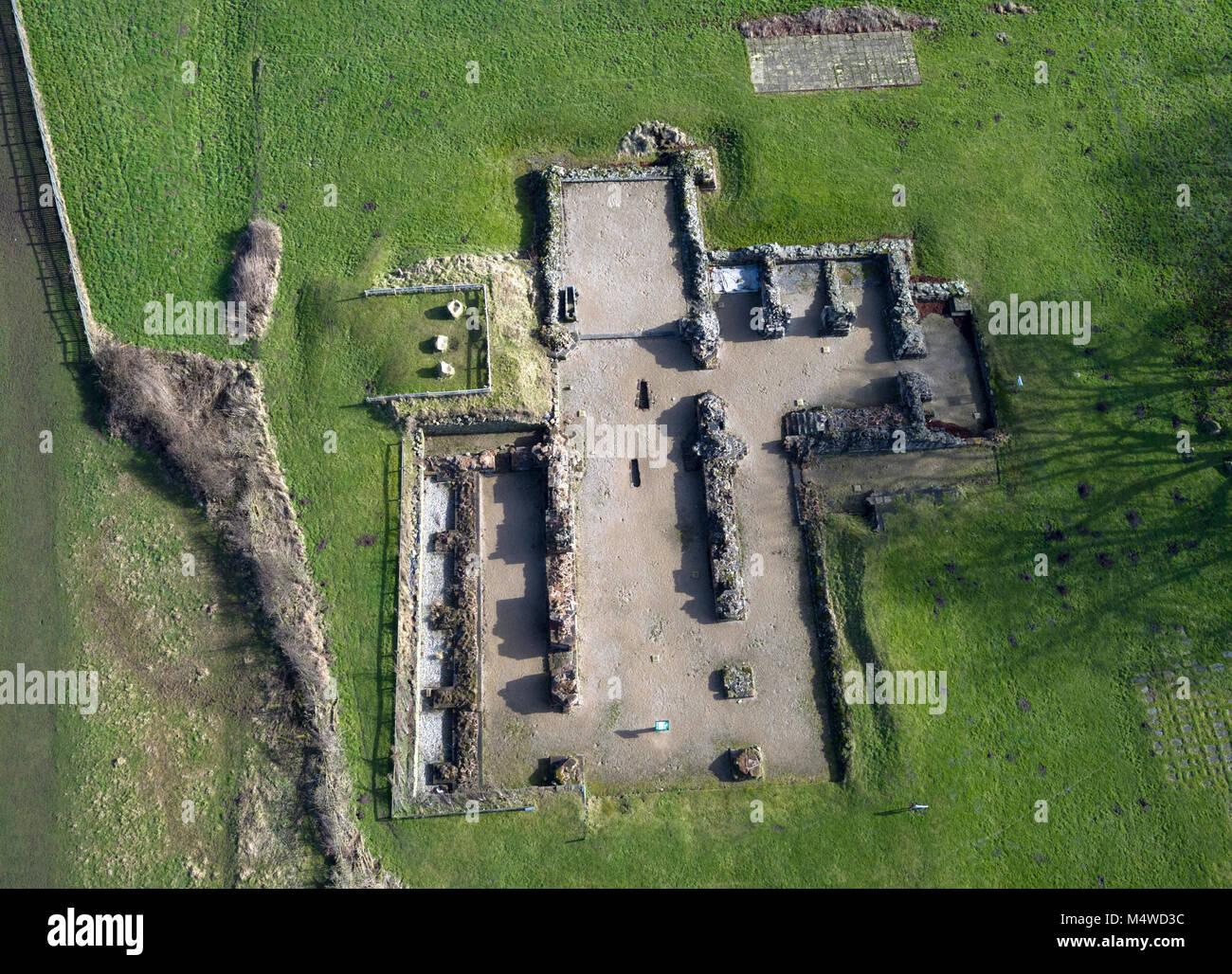 Eine Luftaufnahme der Bordesley Abbey Ruinen in Redditch, Worcestershire, Großbritannien. Stockbild