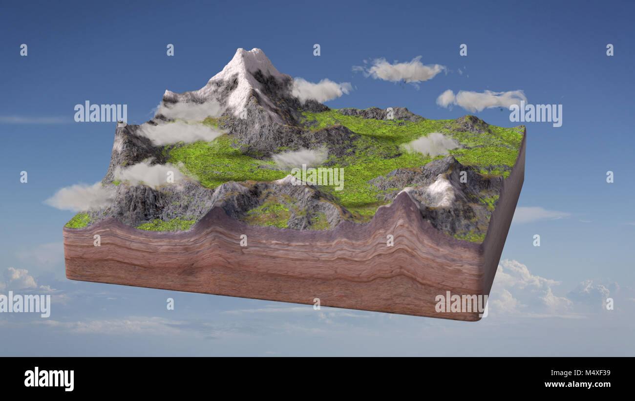Fußboden Querschnitt ~ Modell der einen querschnitt der boden mit berge und wiesen vor