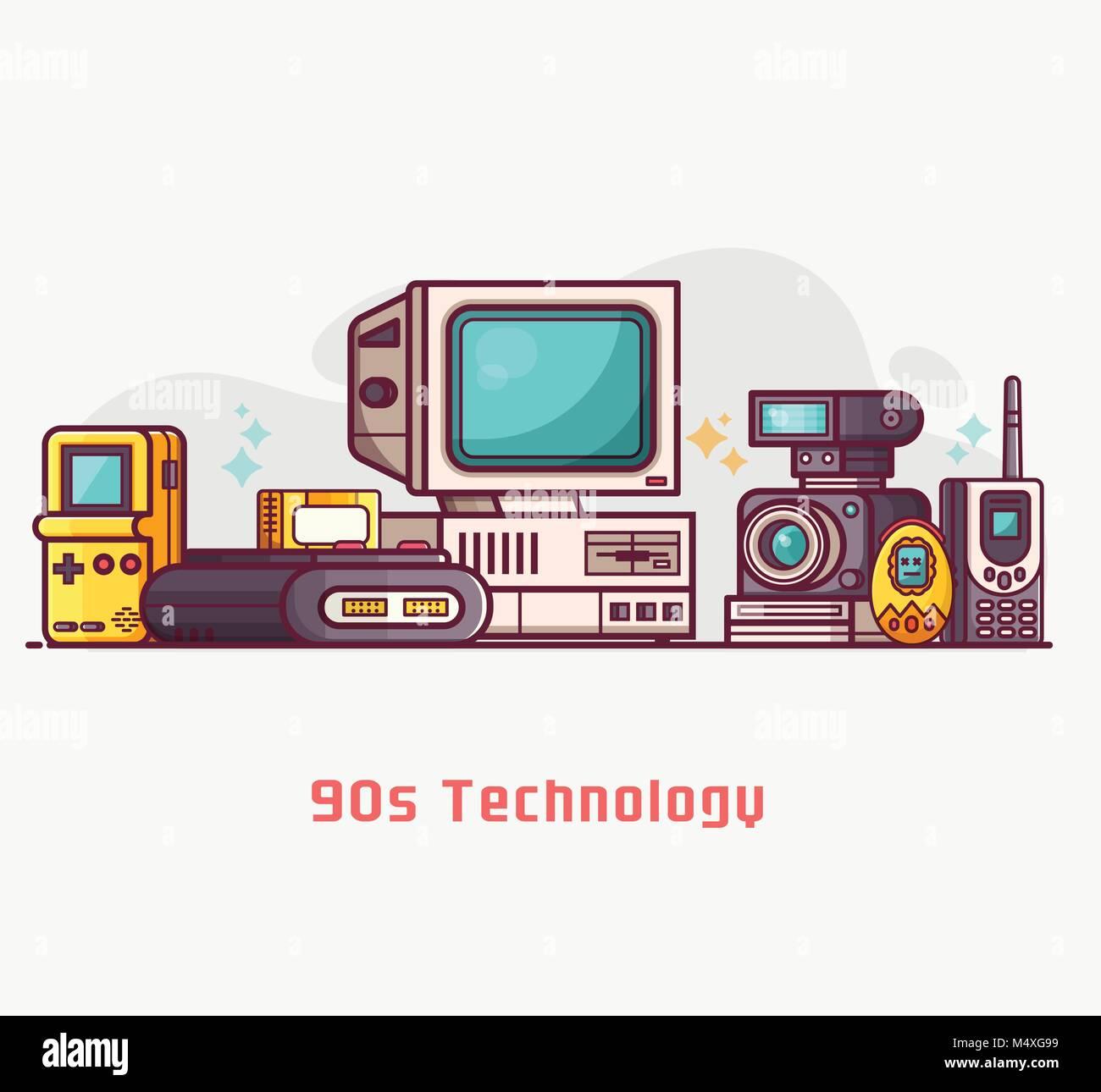 Vintage Tech und elektronische Geräte einrichten Stockbild