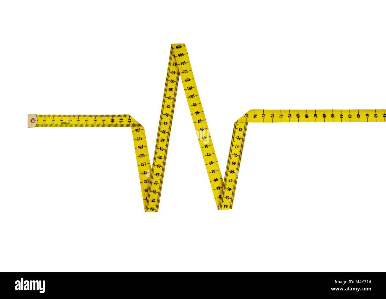 Maßband in Form von Herzschlag, Puls. Gesunde Ernährung/Lifestyle Konzept. Stockbild