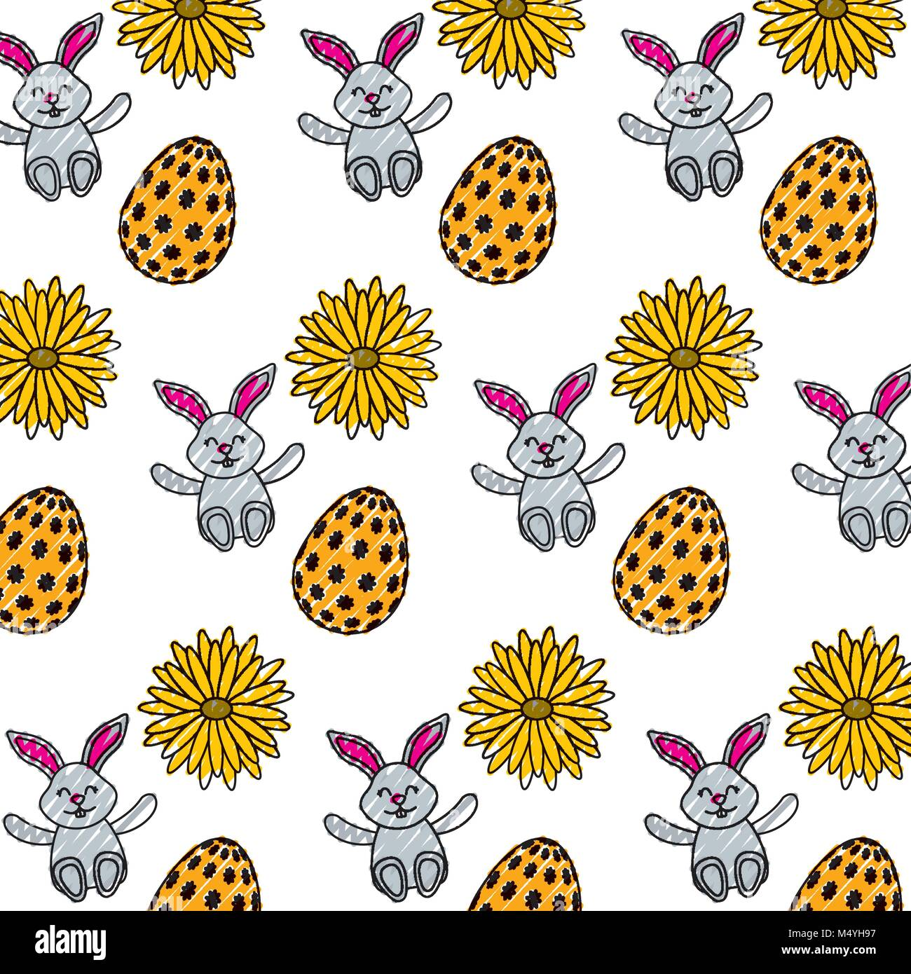 Schöne Ostern Eier Kaninchen Blume Daisy Dekoration Muster Vektor