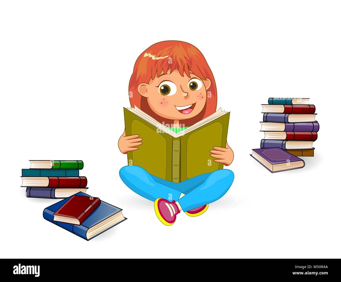 Happy Girl Lesen Buch. Mädchen Mit Buch In Den Händen Auf