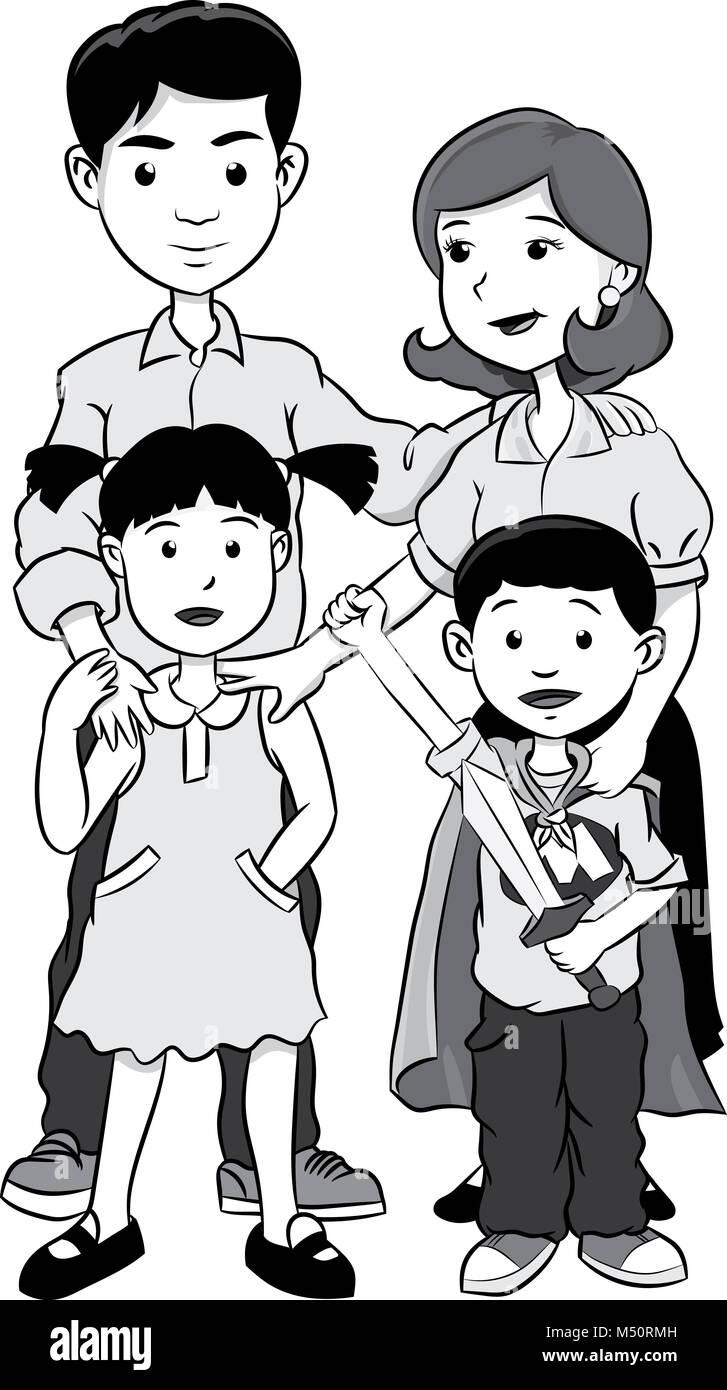 glückliche Familie mit zwei Kindern, Cartoon Vektor-Graustufen Stockbild