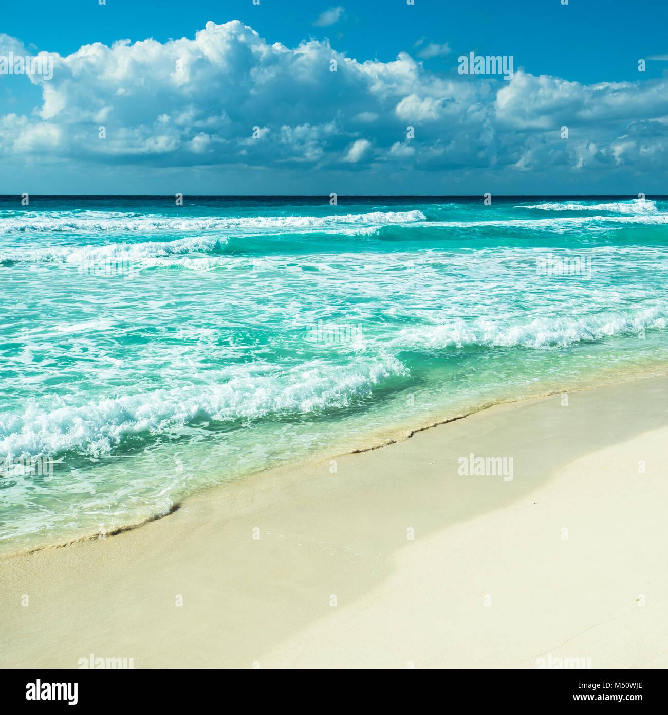 Karibik-Strand Panorama, Tulum, Mexiko Stockbild
