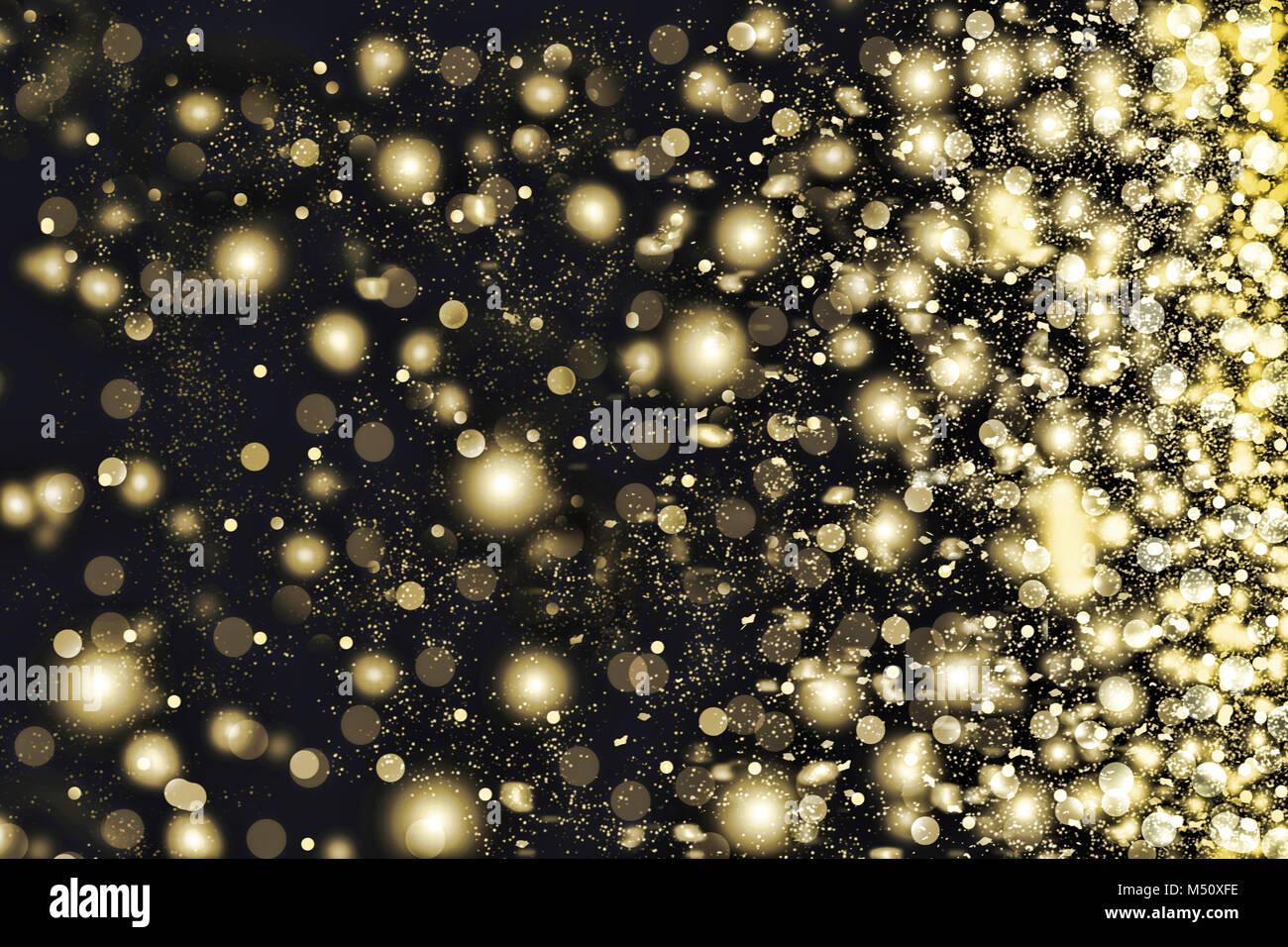 Golden Schneeflocken wirbeln auf schwarzem Hintergrund. Stockfoto