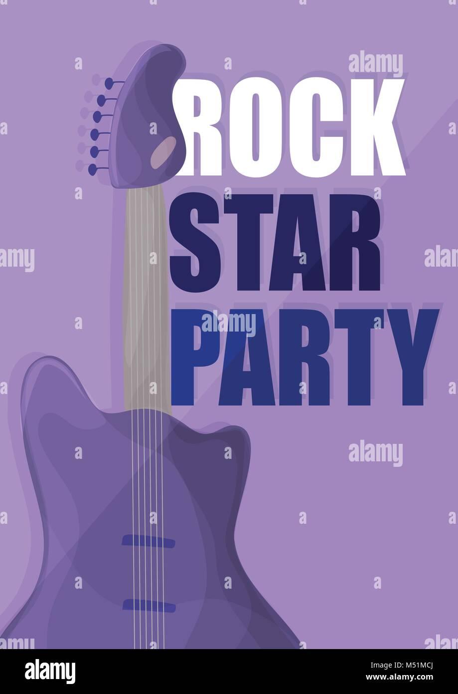 Rock Star Party, Musik poster Hintergrund Vorlage - Gitarre in lila Vektor Stockbild