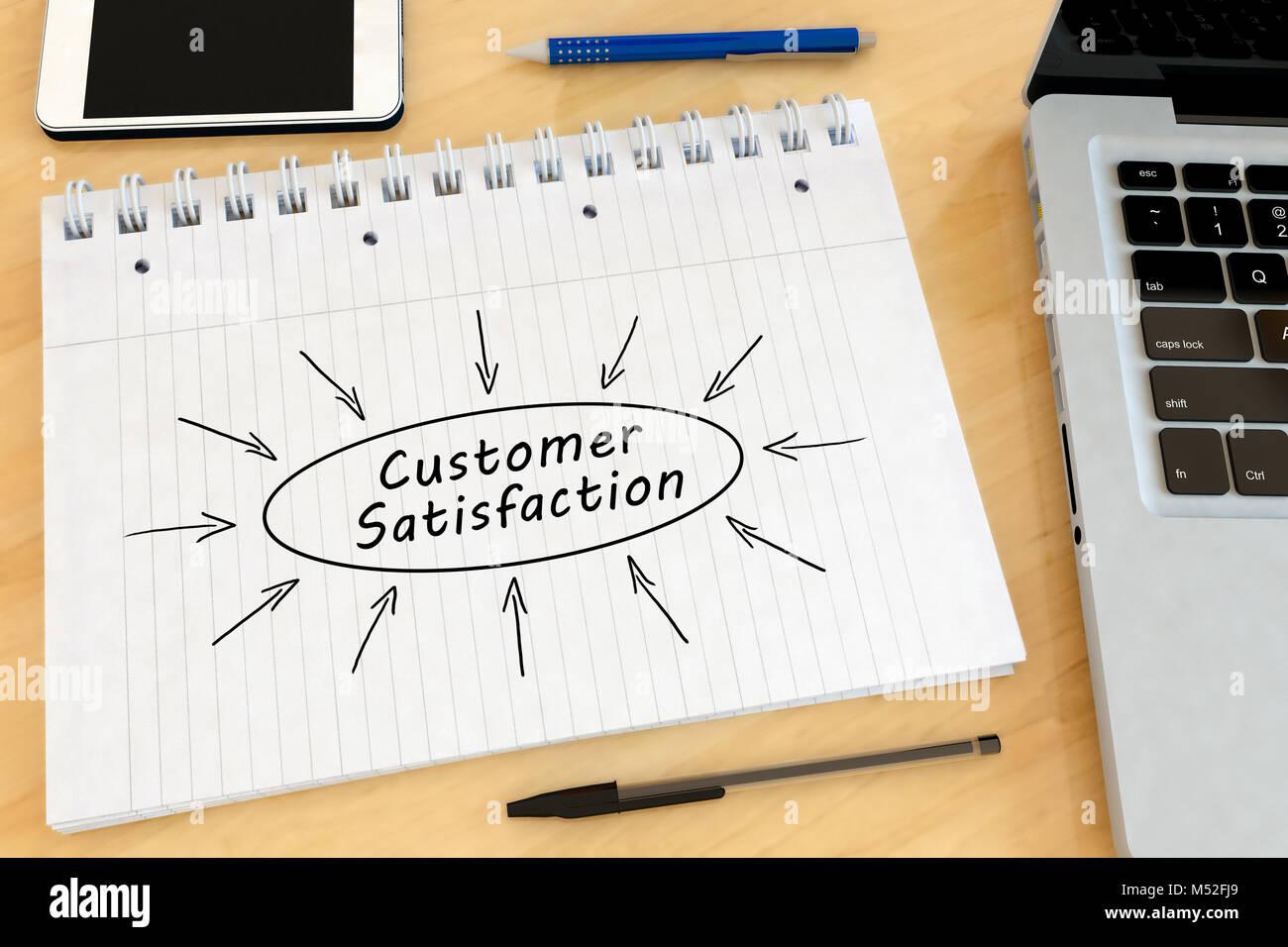 Kundenzufriedenheit text Konzept Stockbild