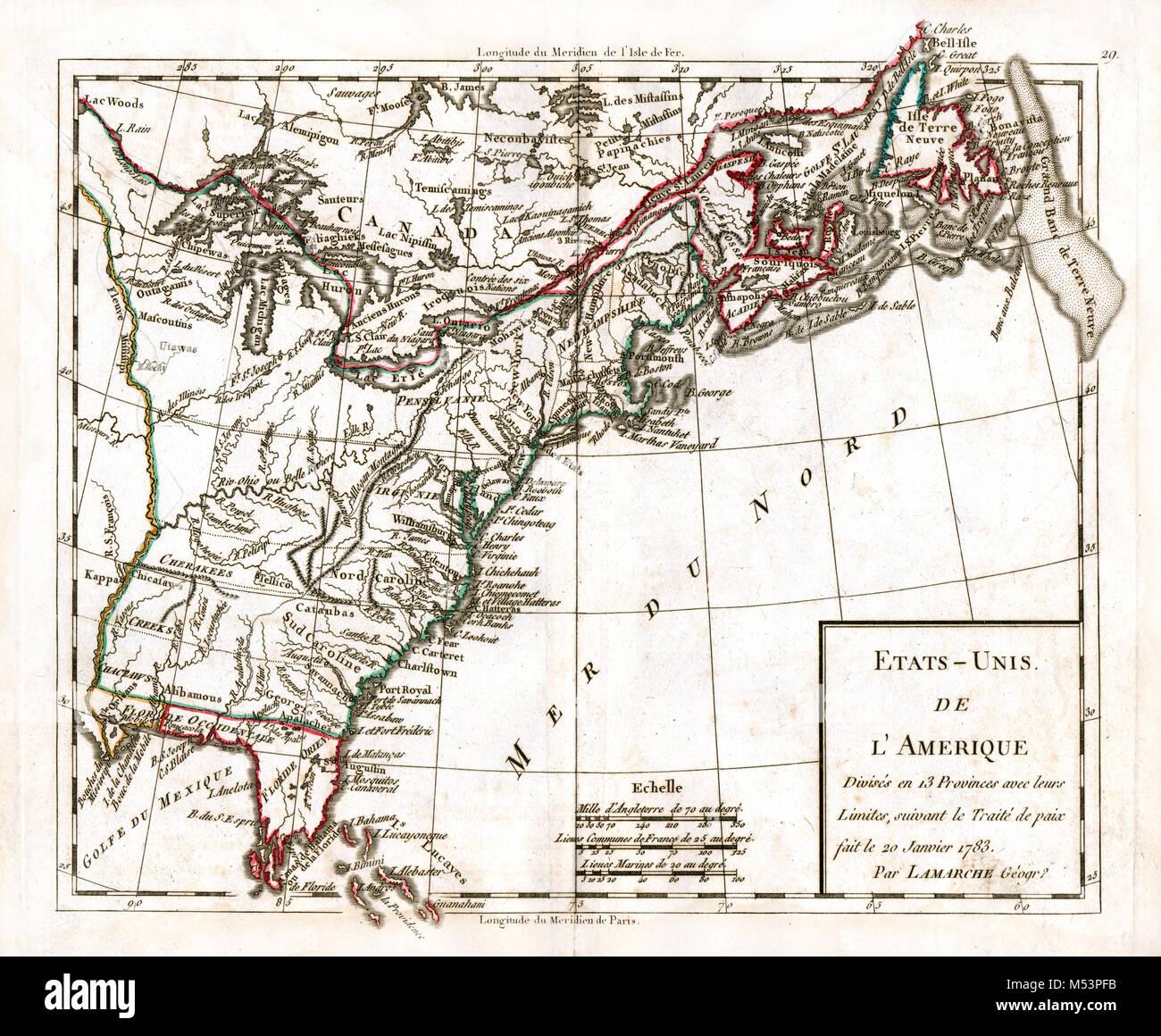 1783 Delamarche Atlas Karte - Vereinigte Staaten von Amerika ...