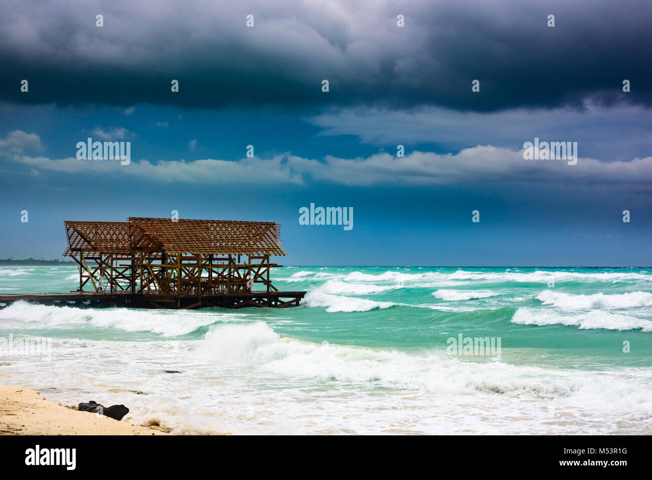 Meer Gewitter wolke Hurrikan irma Stockbild