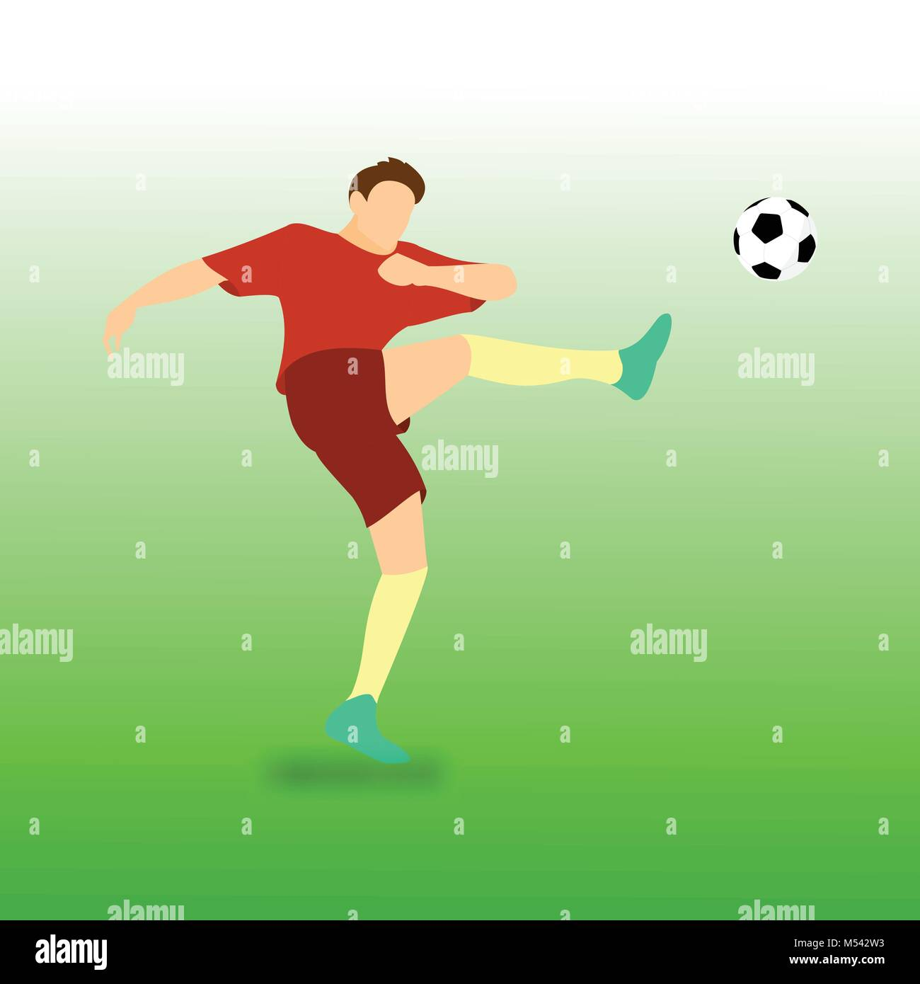 High Kick Fussball Fussball Spieler Vector Illustration