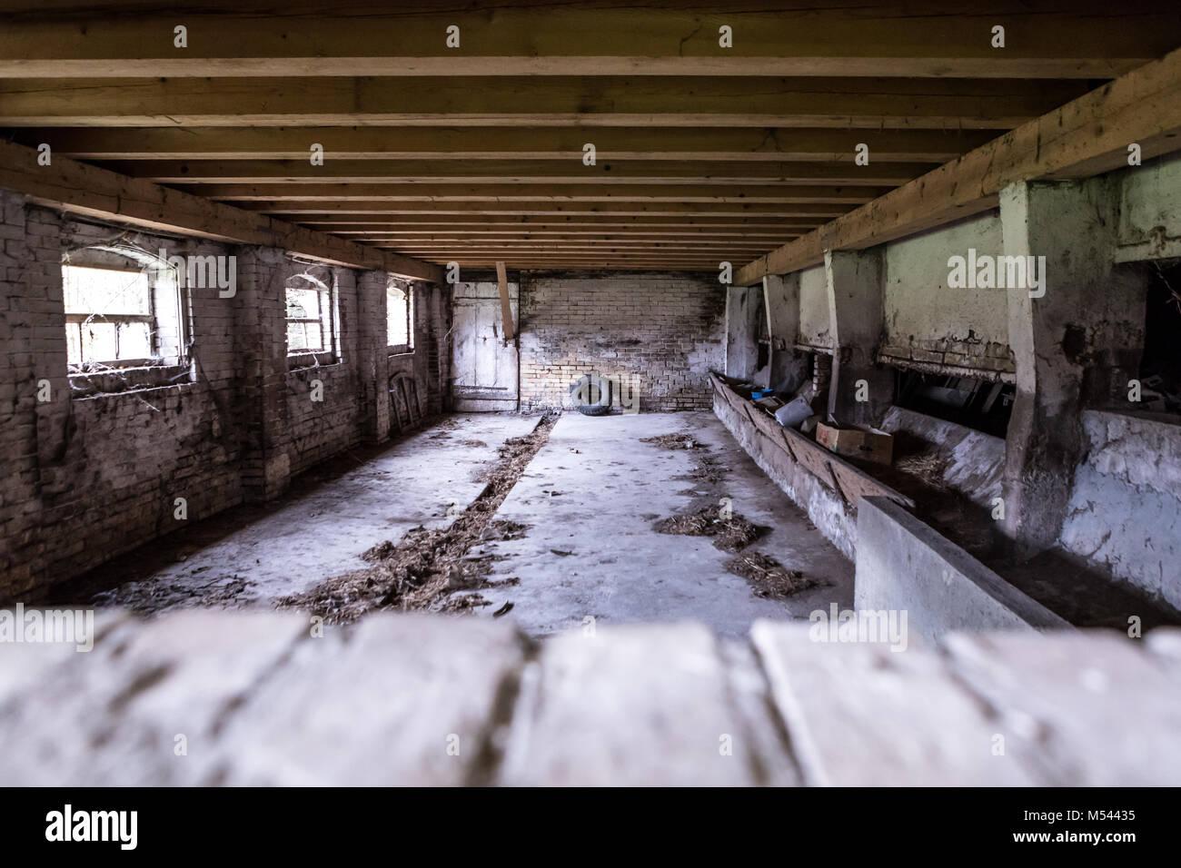 Leeren Stall - verlorene Ort Stockbild
