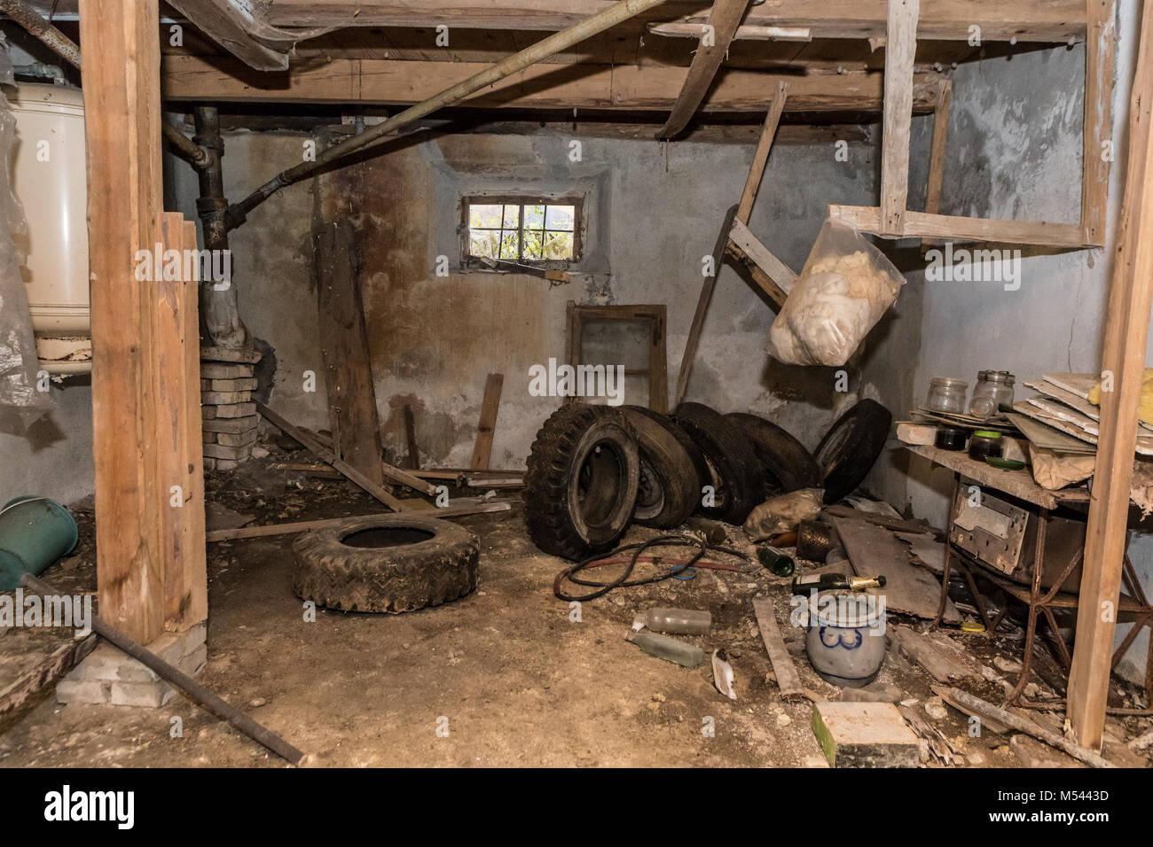 Zimmer in einem verlassenen Haus - verlorene Ort Stockbild