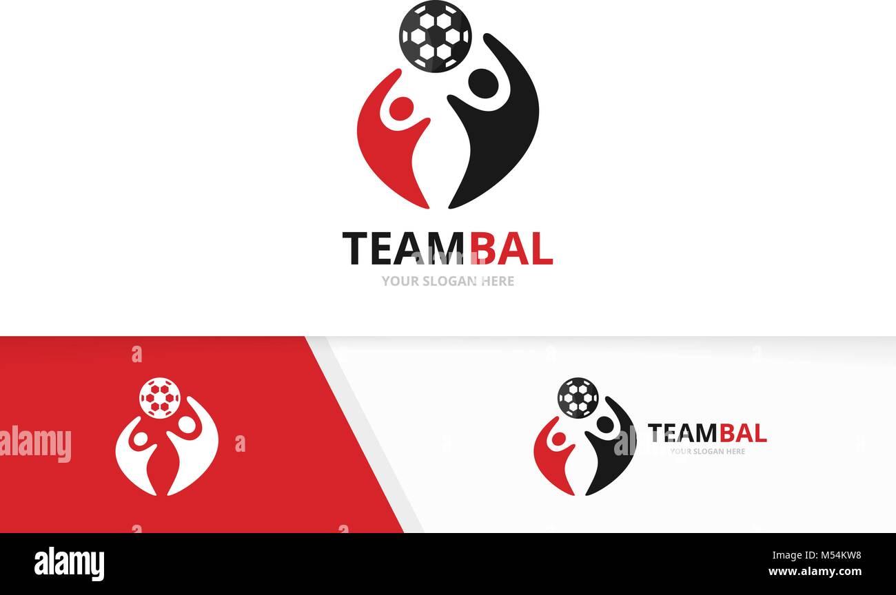 Vektor Fußball und Leute logo Kombination. Kugel und Familie Symbol oder Icon. Einzigartige Fußball und Union, Hilfe, Stock Vektor
