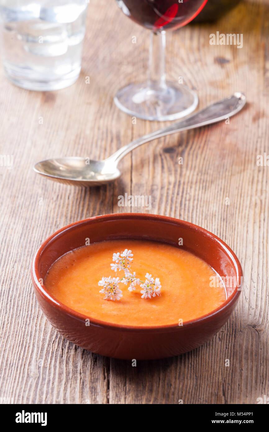 Nahaufnahme eines spanischen salmorejo Suppe Stockbild