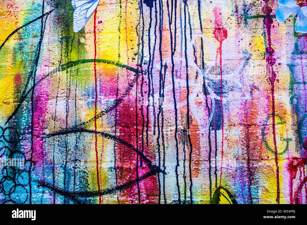 abstrakte acryl hintergrund der modernen malerei fragment bunte regenbogen streifen textur. Black Bedroom Furniture Sets. Home Design Ideas