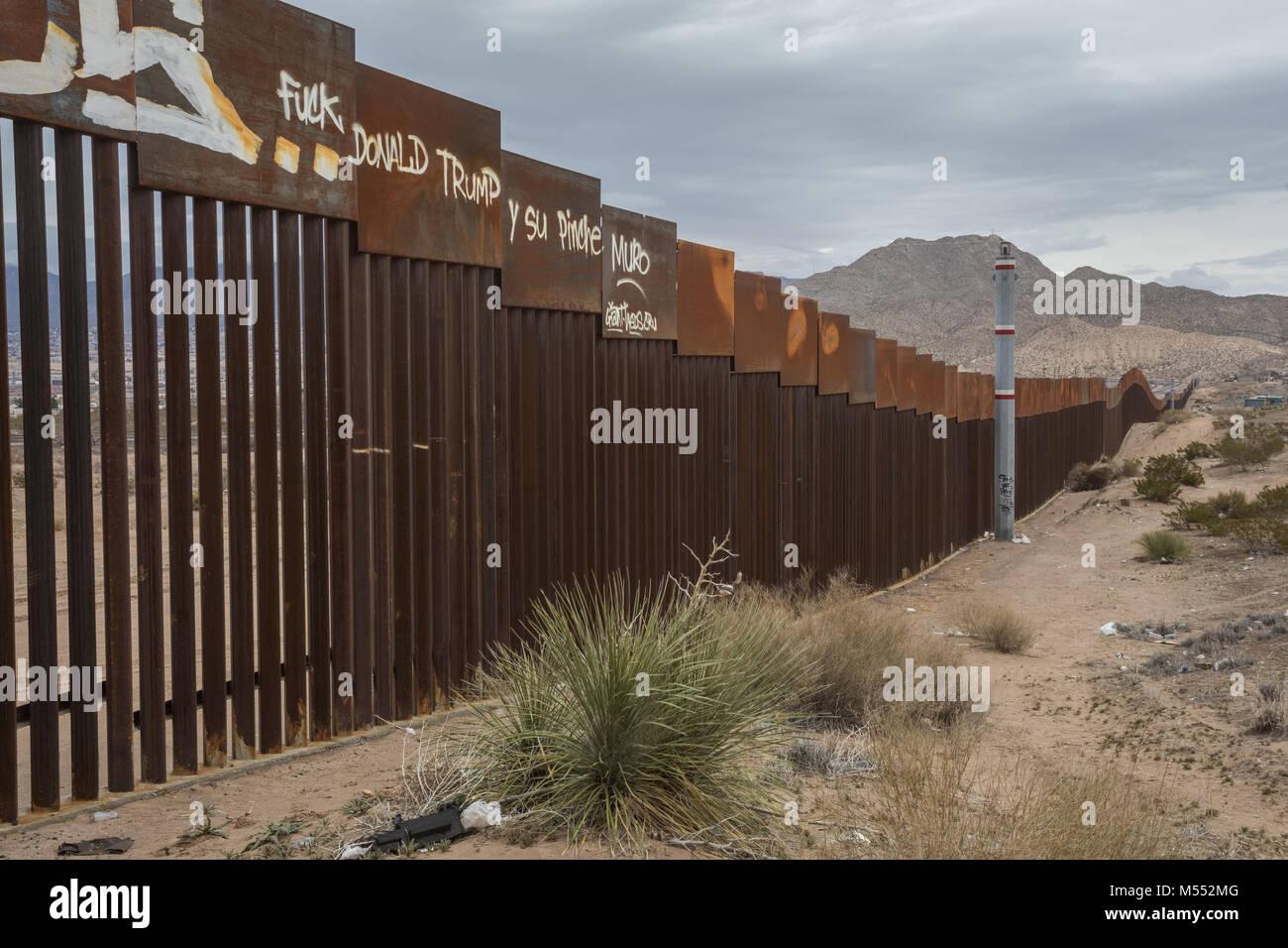 Grenzmauer Auf Usa Mexiko Grenze Zwischen Ciudad Juarez Chihuahua