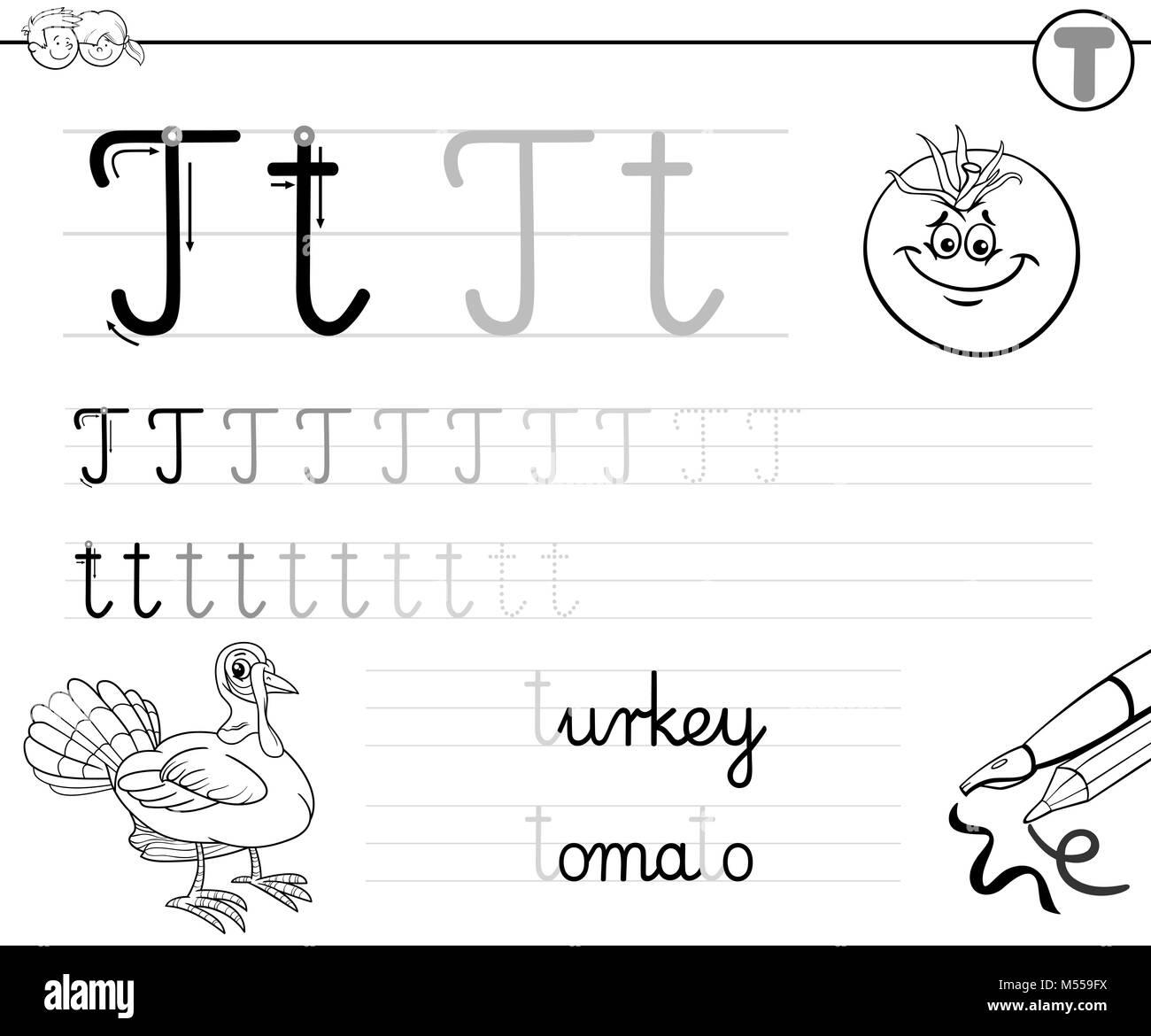 Lernen Buchstaben T Arbeitsbuch für Kinder zu schreiben Stockfoto ...