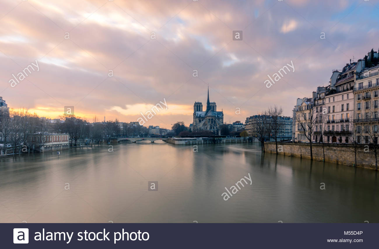 Notre Dame von Pont de la Tournelle, Paris. Seine Flut gesehen. Stockbild