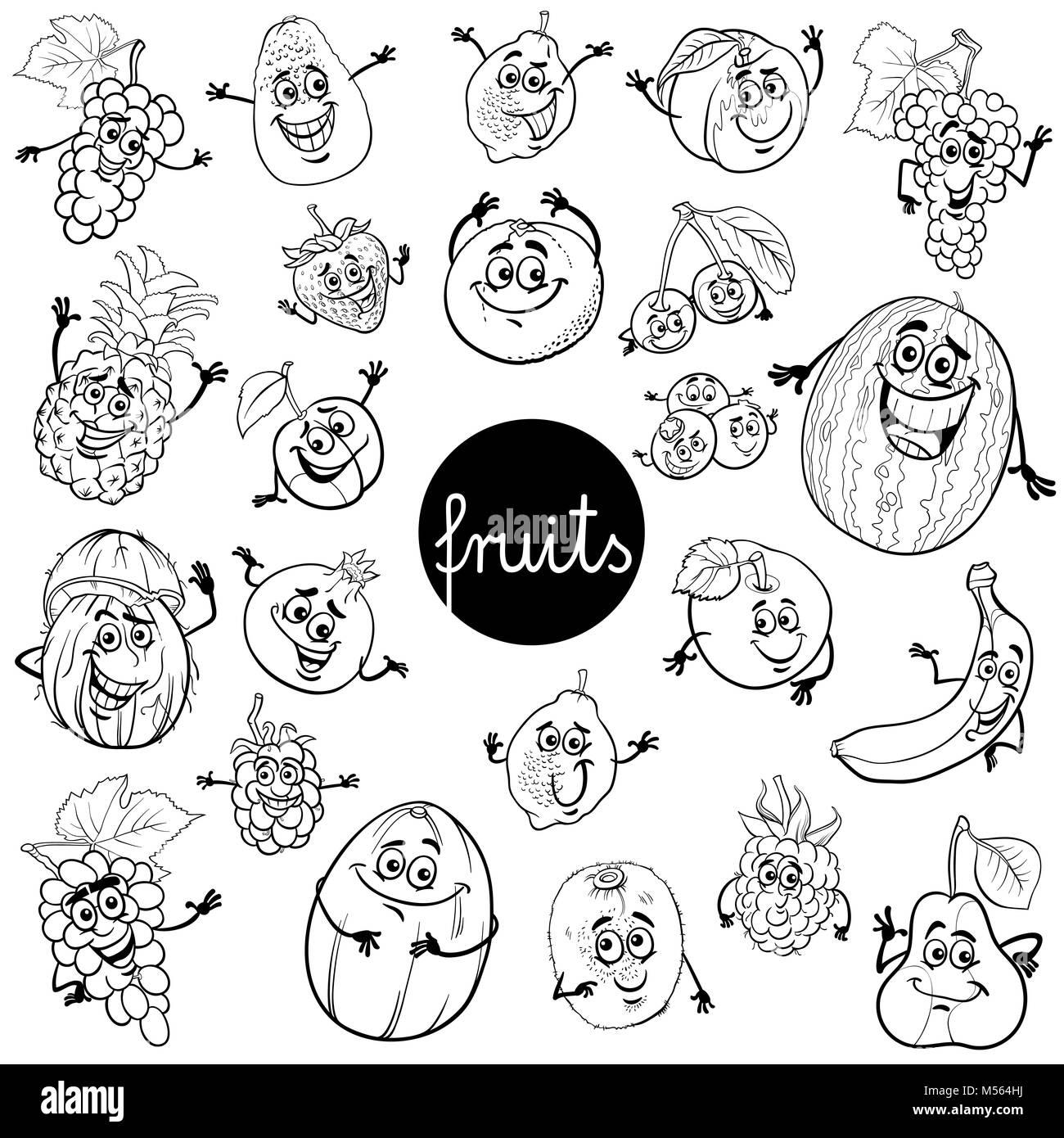 Cartoon Früchte zeichen Farbe Buch Stockfoto, Bild: 175312302 - Alamy