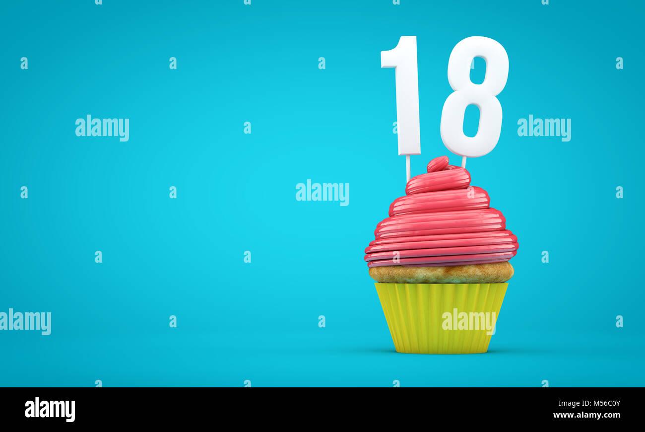 Nummer 18 Geburtstag Feier Cupcake 3d Rendering Stockfoto Bild