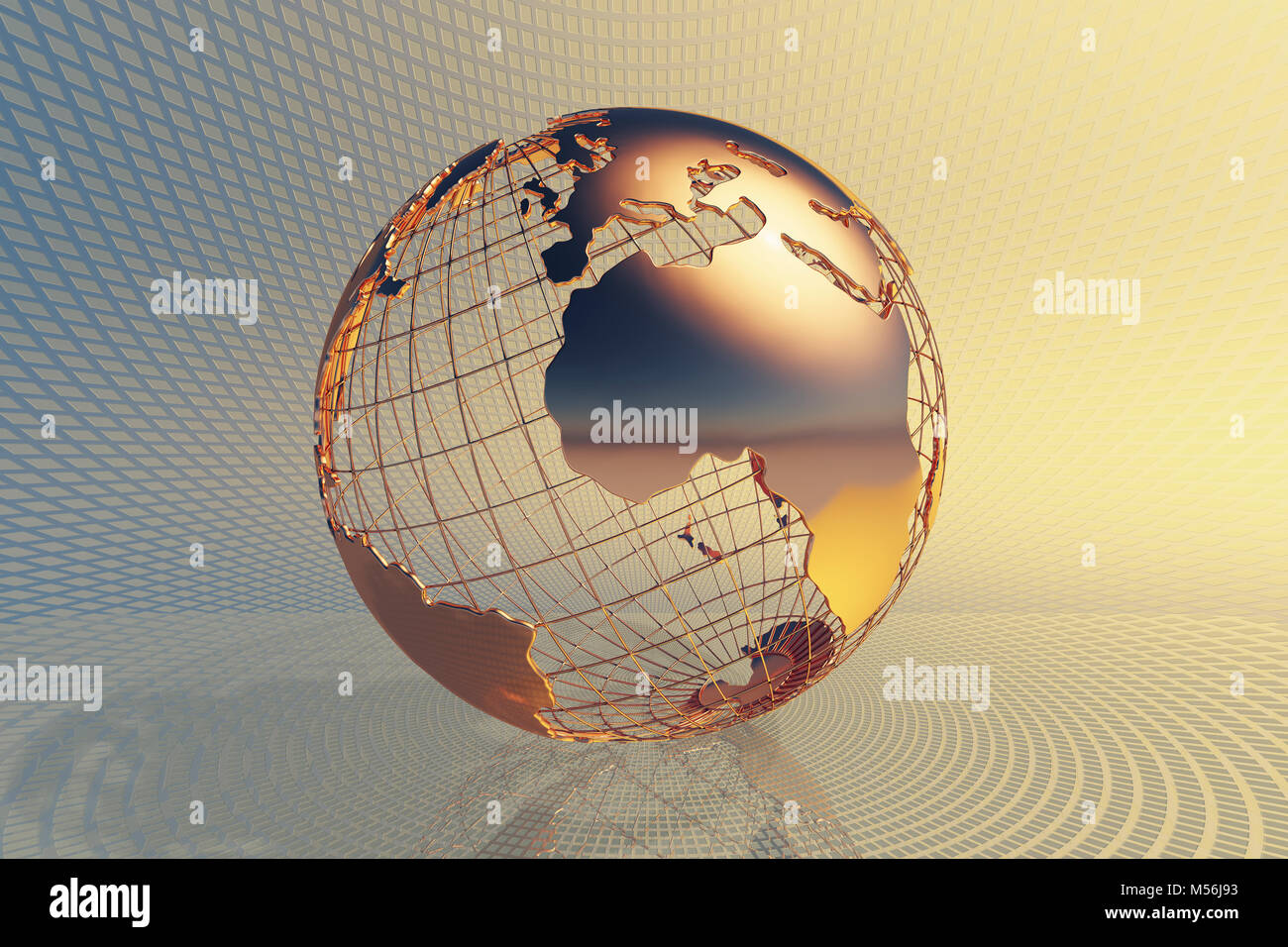 Welt global business Design mit abstrakter Hi-tech-goldenen Metall Hintergrund (3D Render) Stockbild