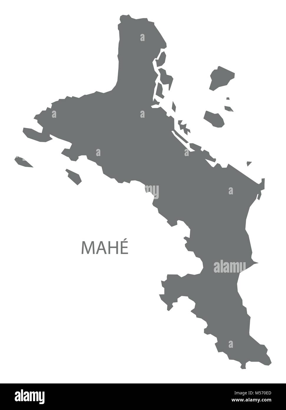 Karte Seychellen.Mahe Seychellen Karte Grau Abbildung Silhouette Vektor