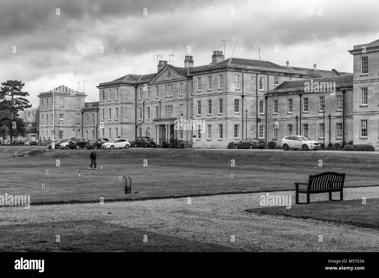 Die Fassade von St Andrews Hospital, einem psychiatrischen Krankenhaus von St Andrews Healthcare; Northampton, Großbritannien Stockbild