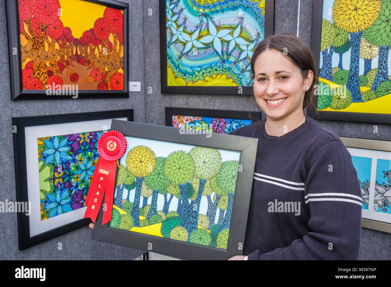 Coral Gables Künstler Hispanic Frau Angelines Garcia Gerahmte ...