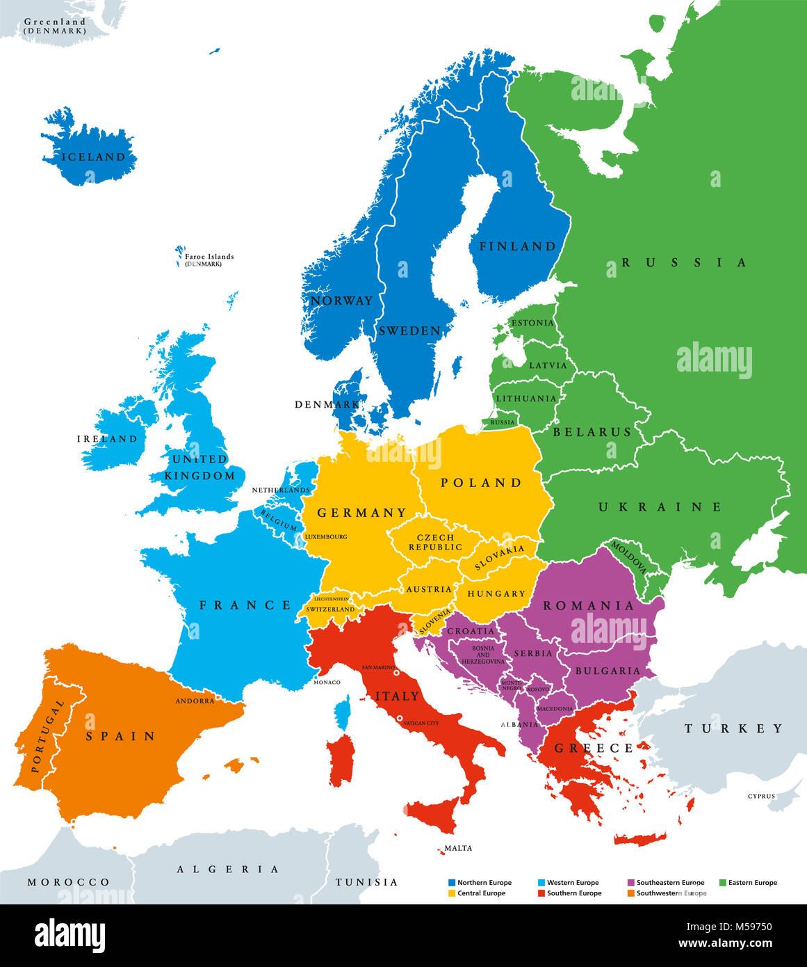 Regionen In Europa Politische Karte Mit Einzelnen Landern Und