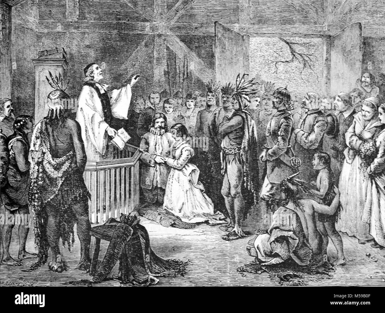 Hochzeit Oder Heirat Von Pocahontas C 1596 1617 John Rolfe Im