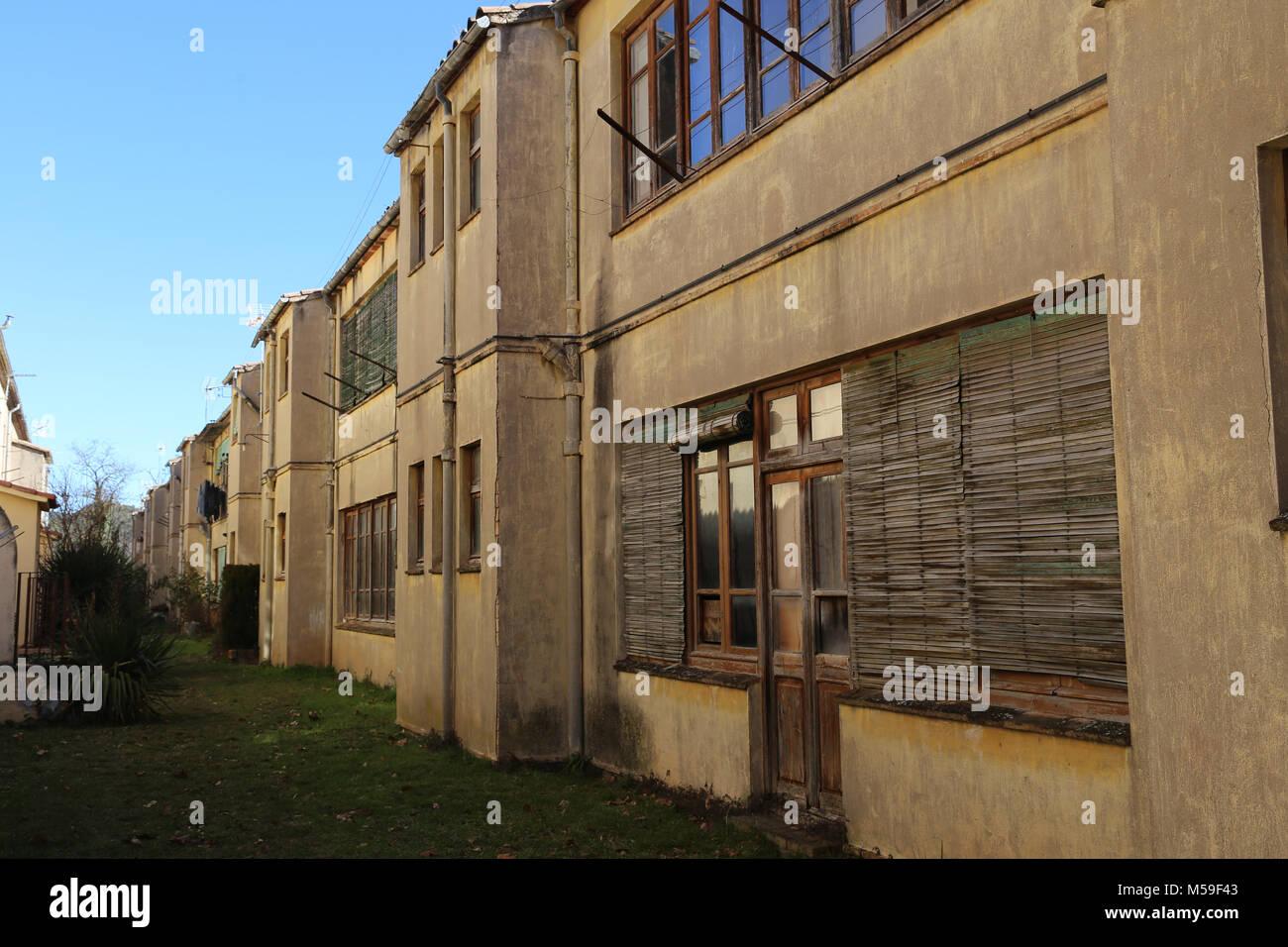 Spanien, Katalonien, Puig-Reig. Kann Vidal. Textilwaren industrielle Kolonie. 1901-1980. Gehäuse der Arbeiter. Stockbild