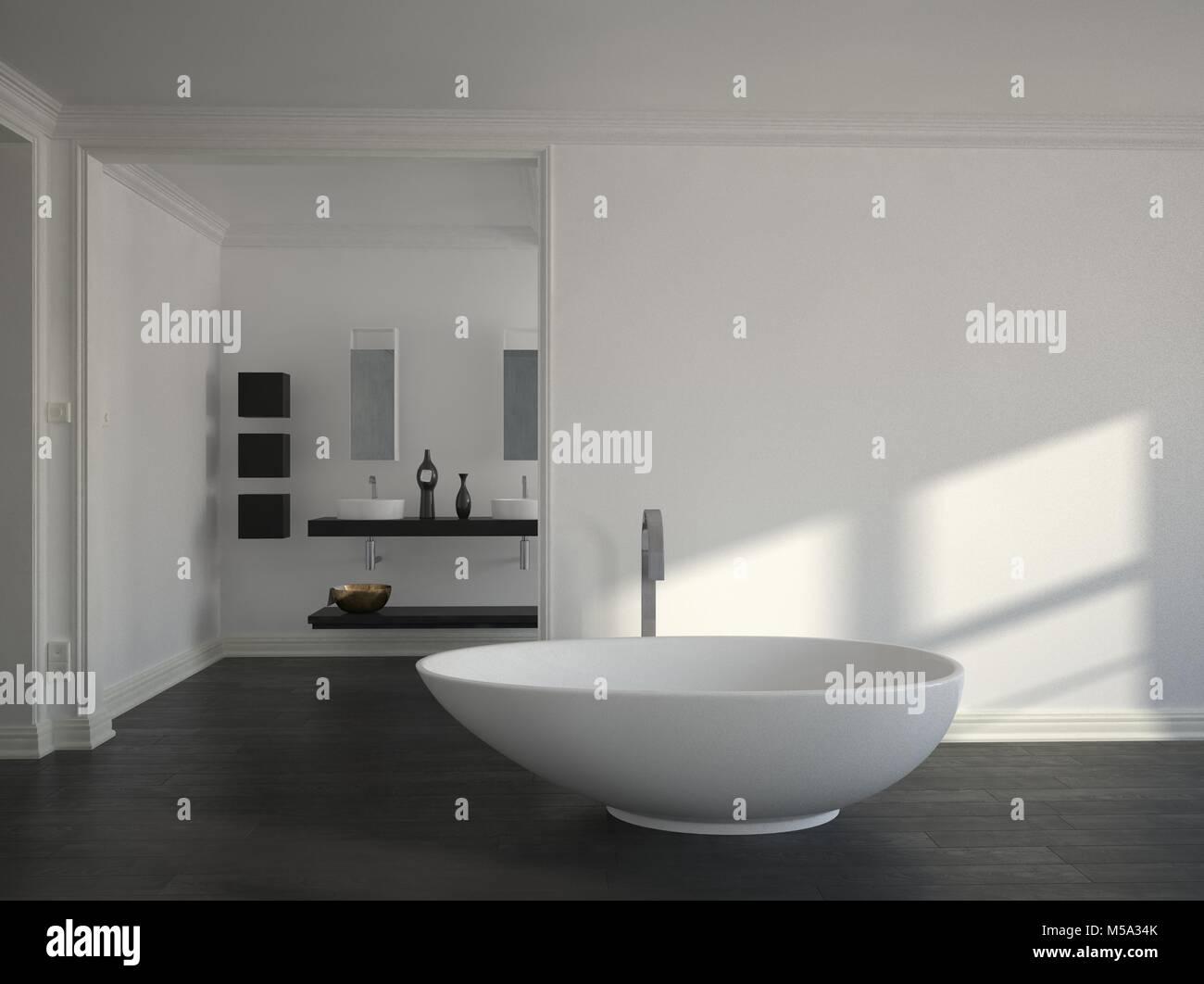Einfache moderne Badezimmer mit Tageslicht aus einem Fenster ...