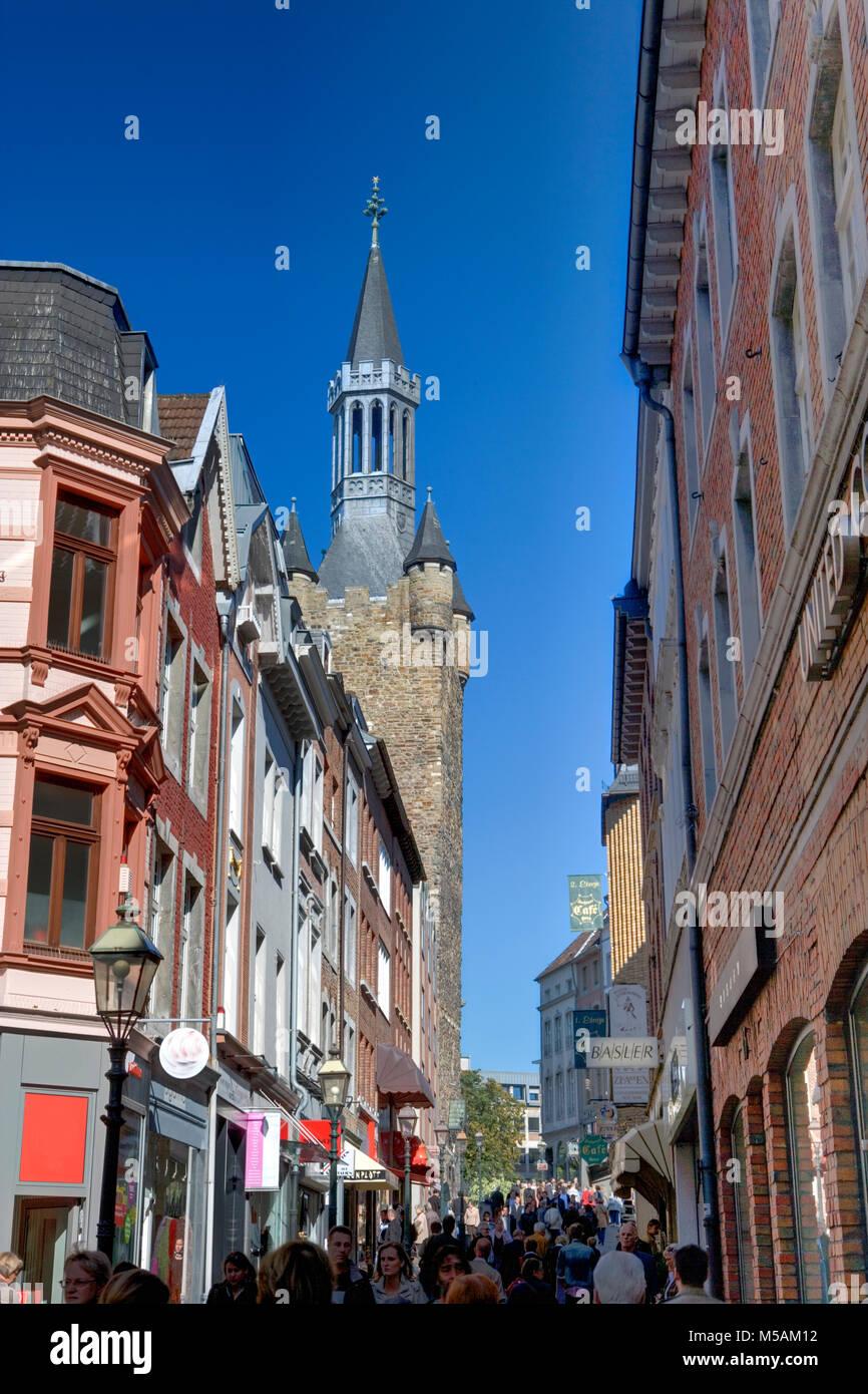Aachen Rathaus, Aachen oder Aix-la-Chapelle, Nordrhein-Westfalen, Deutschland Stockbild