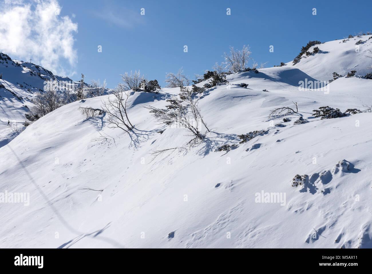 Winter Skigebiet in den Alpen Stockbild
