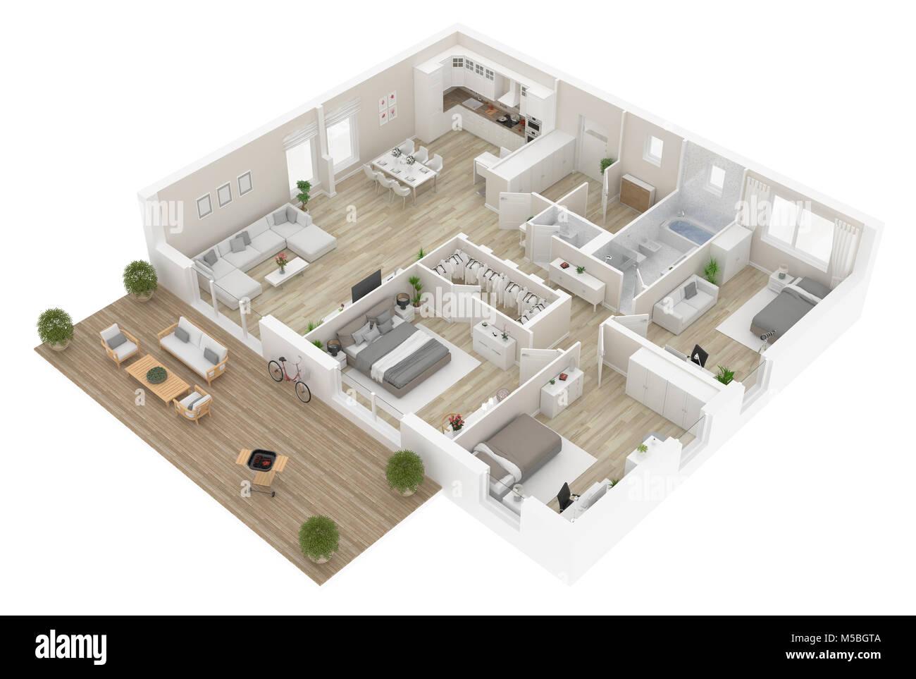 Grundriss Ansicht Von Oben. Apartment Innenraum Auf Weißem Hintergrund.  3D Rendering