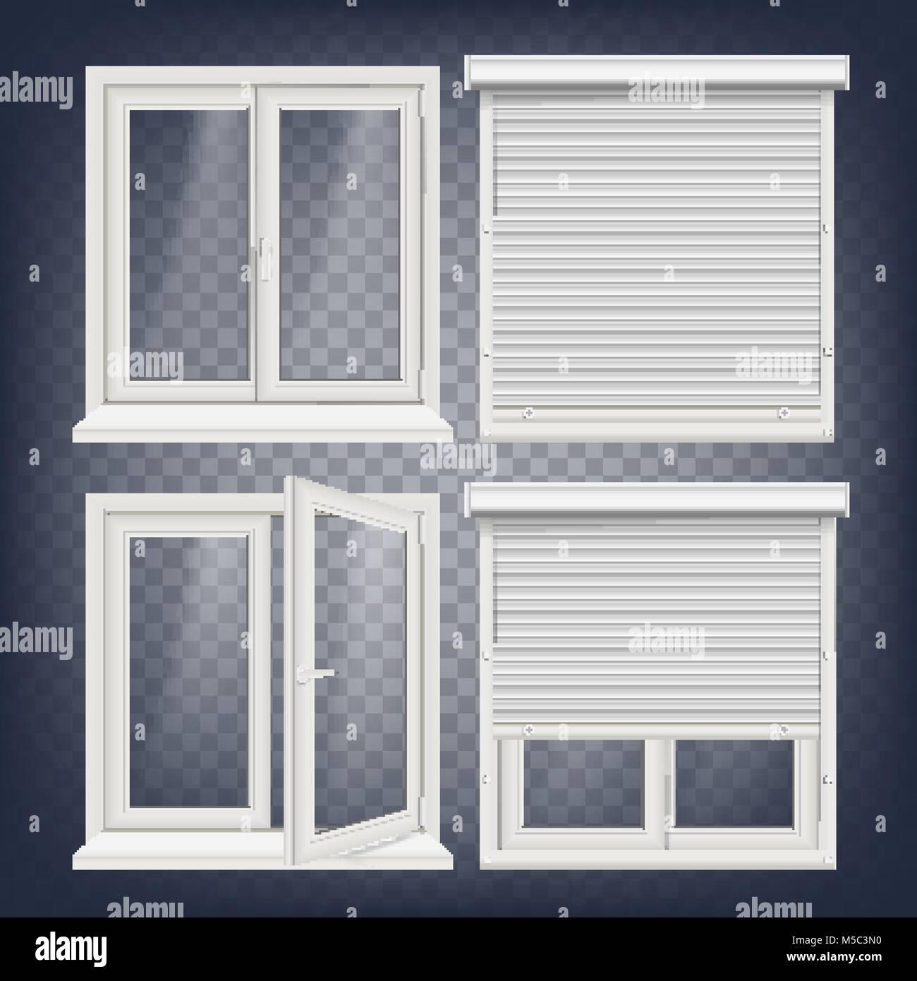 Kunststoff Fenster Vektor. White Metallic Rollladen. PVC-Fenster ...
