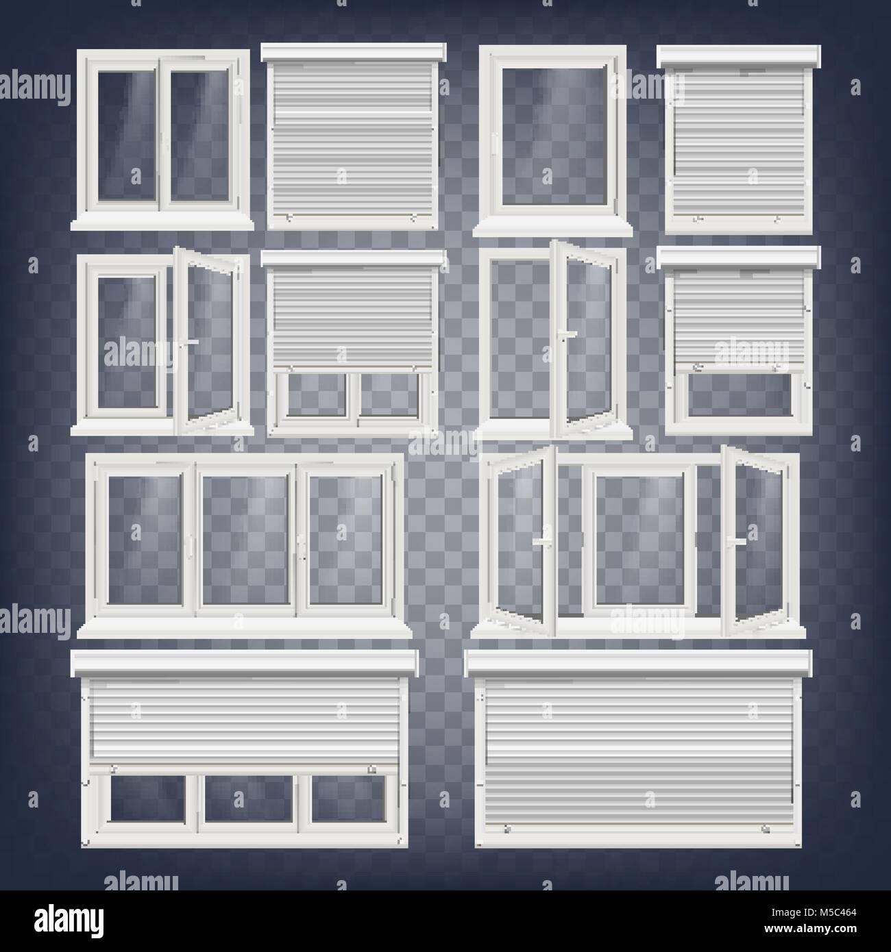 Kunststoff PVC-Fenster Set Vektor. Verschiedene Typen. Rollo ...