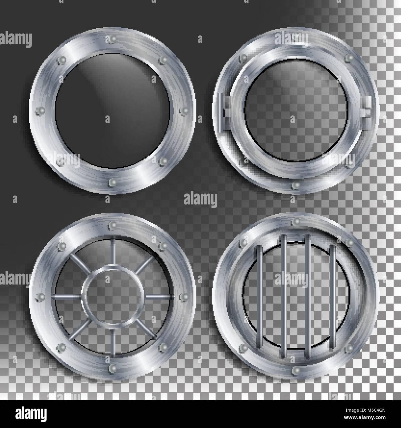 Silber Bullauge Vektor Runde Metall Fenster Mit Nieten Bathyscaph