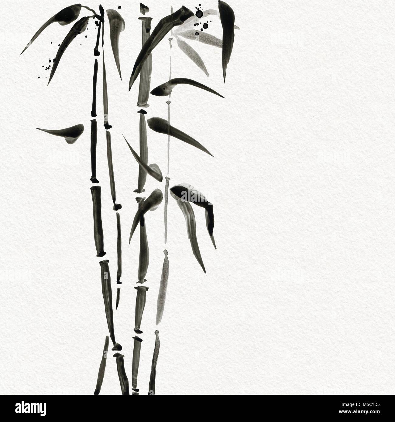 Erstaunlich Bambus Bäume Im Japanischen Stil. Aquarell Malerei Illustration