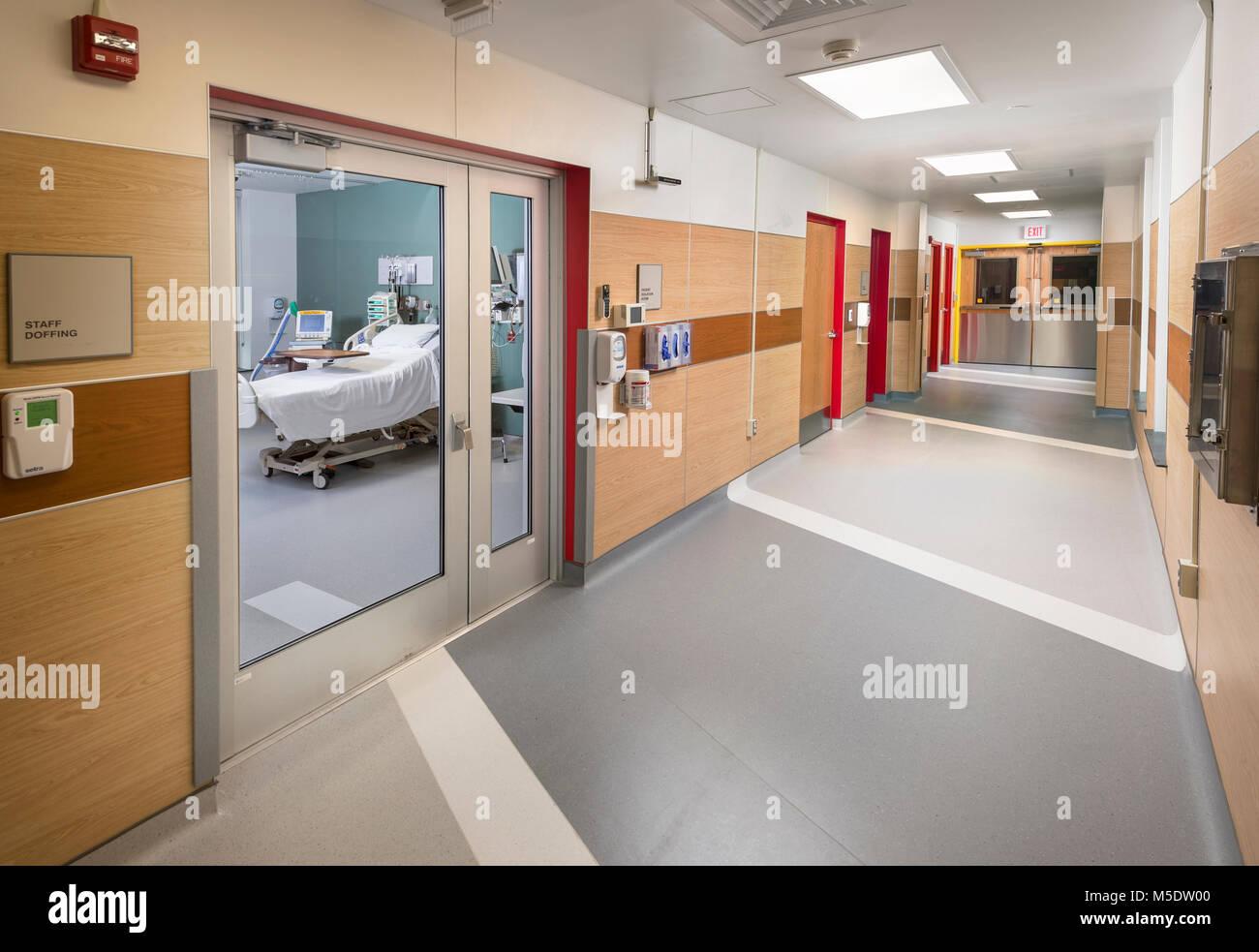 Die Isolation der Biohazard Flügel im Krankenhaus Stockbild