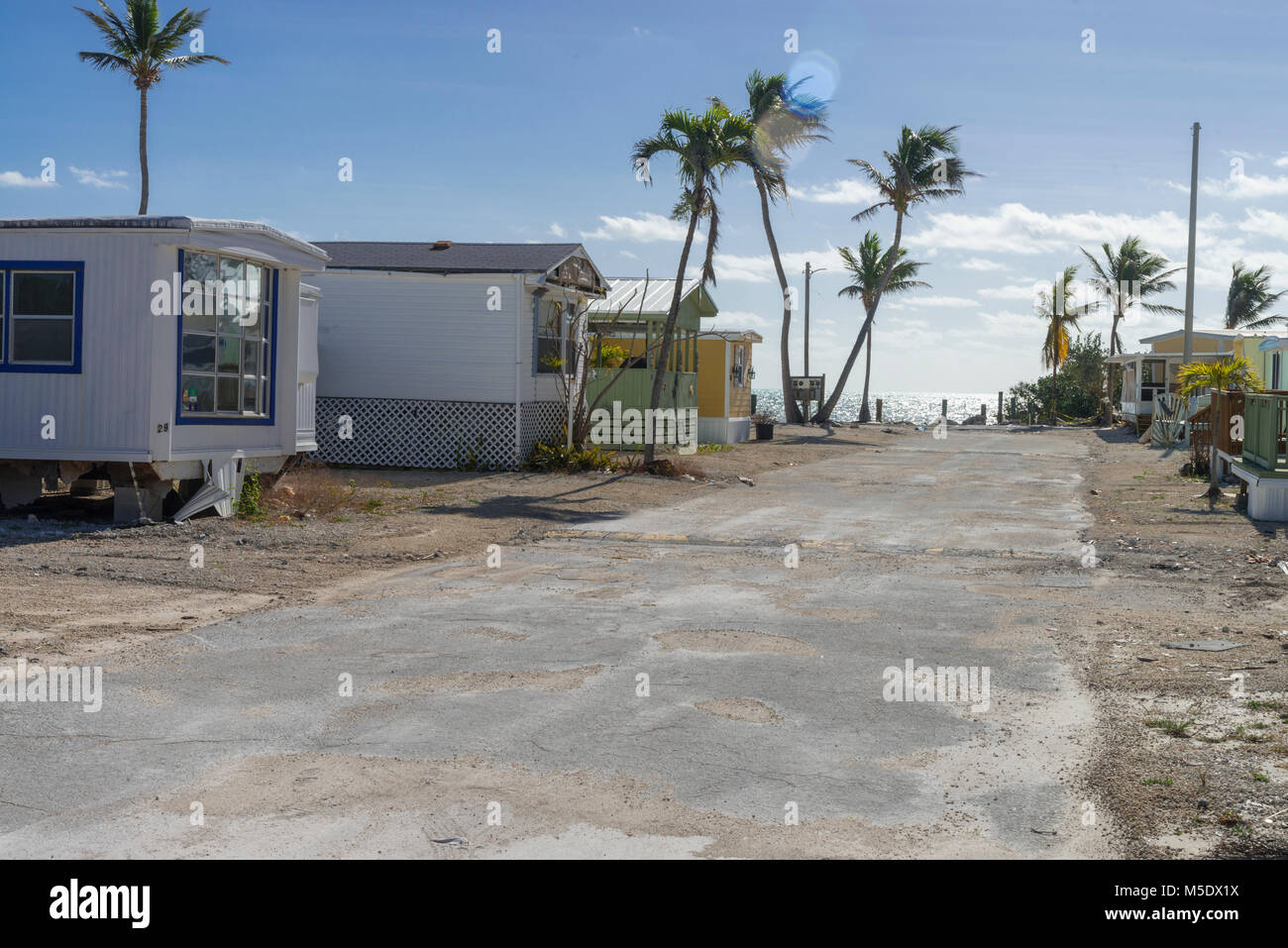 Hurricane Irma Sturm Schäden an verlassenen Trailer Park, Islamorada, Florida, USA Stockbild