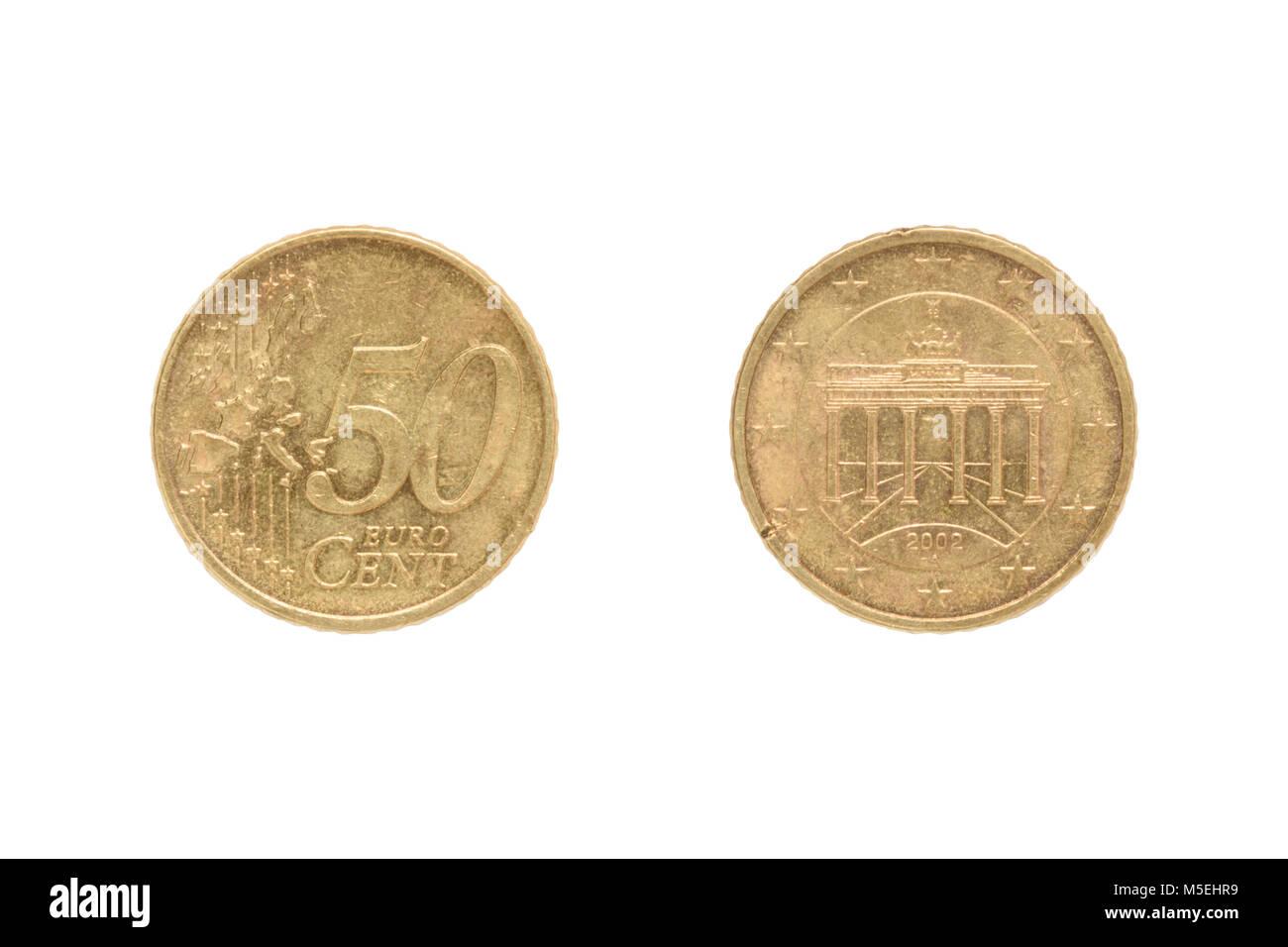 50 Euro Cent Münze Auf Weißem Hintergrund Auf Der Rückseite Des