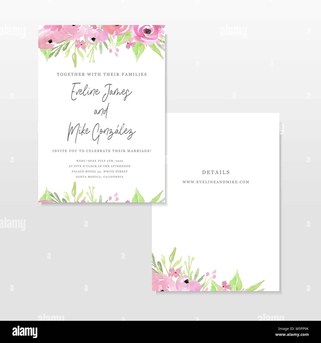 Hochzeit Einladung Vorlage Mit Rosa Blumen, Kranz, Ehe, Blumen,  Handgezeichnete Illustrationen. Einladung Vorlage. Aquarell Hand Gezeichnet