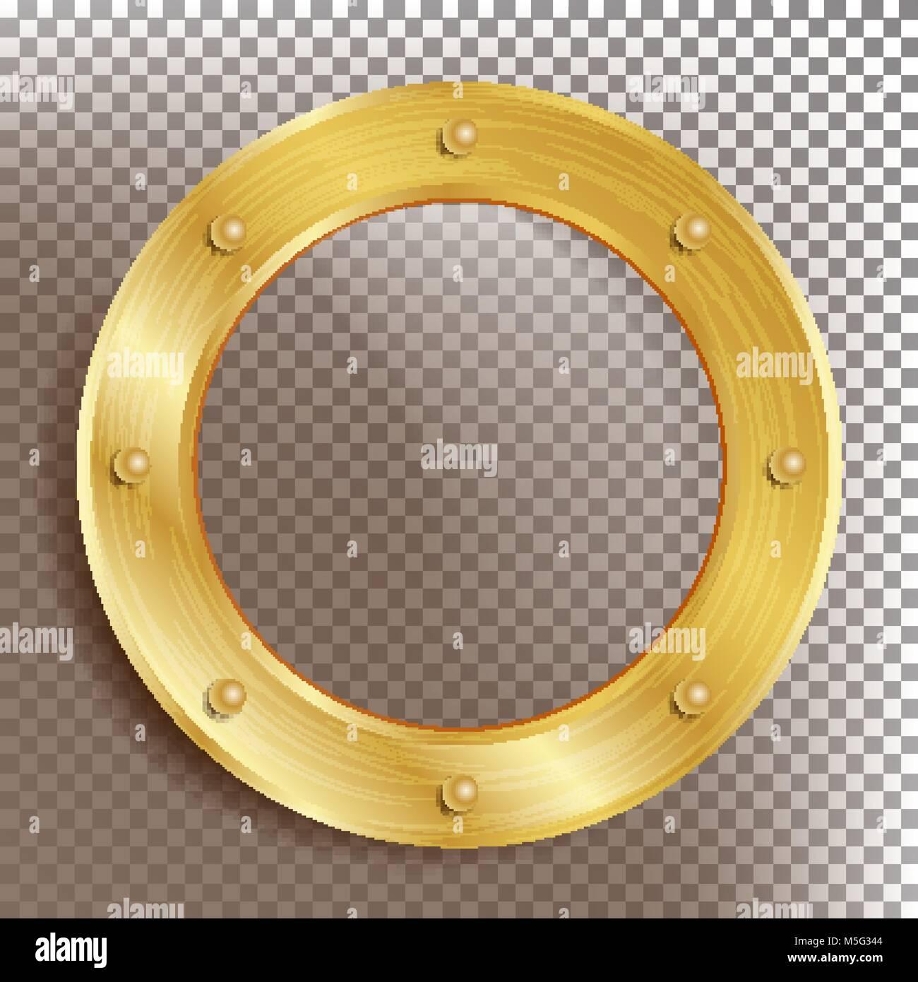Bullauge Vektor Runde Goldenen Fenster Mit Nieten Bathyscaph