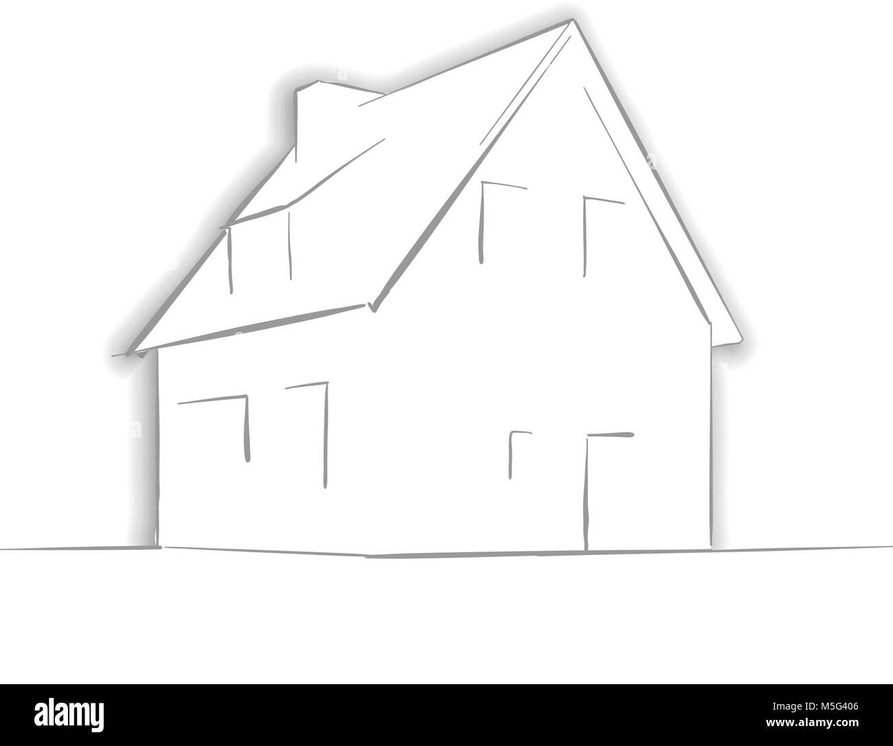 Kleines Haus Zeichnung Von Hand Line Art Architektur Symbol Fur Grusskarten Vector Hintergrund