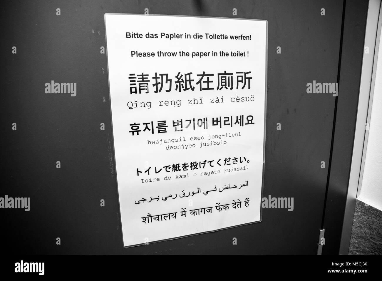 Zeichen In Einem Badezimmer Den Leuten Das Papier In Die Toilette