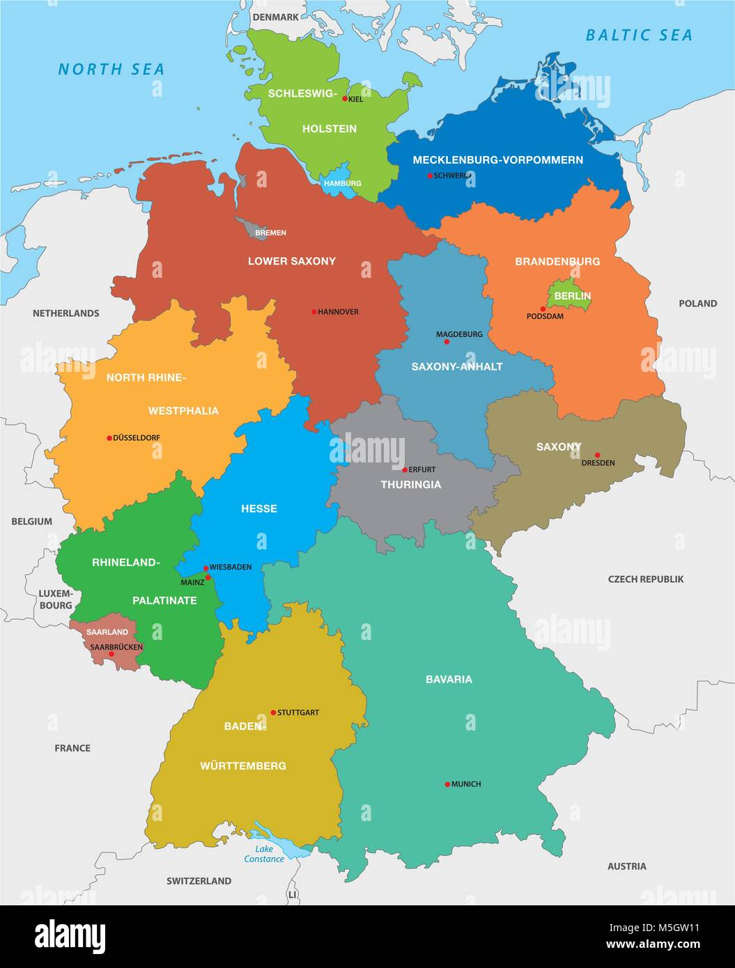 Administrative Karte Der Bundesrepublik Deutschland In Englischer