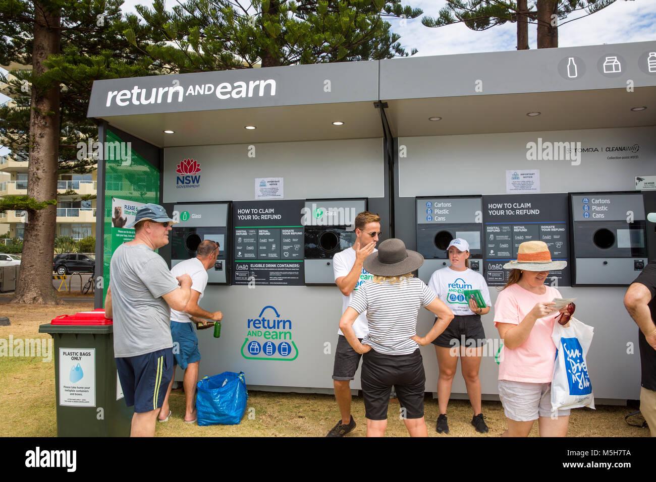 Die NSW Regierung weiterhin seinen Behälter Kaution Regelung als Zurück und Verdienen, wo 10 c erworben Stockbild